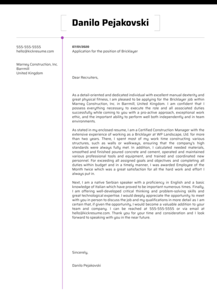 Bricklayer Cover Letter Example Kickresume