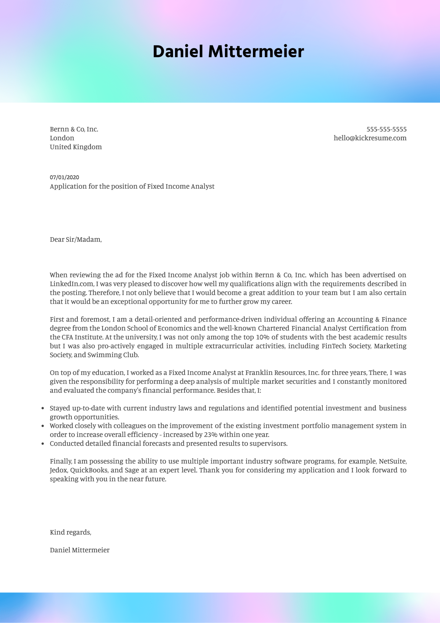 Fixed Income Analyst Cover Letter Example