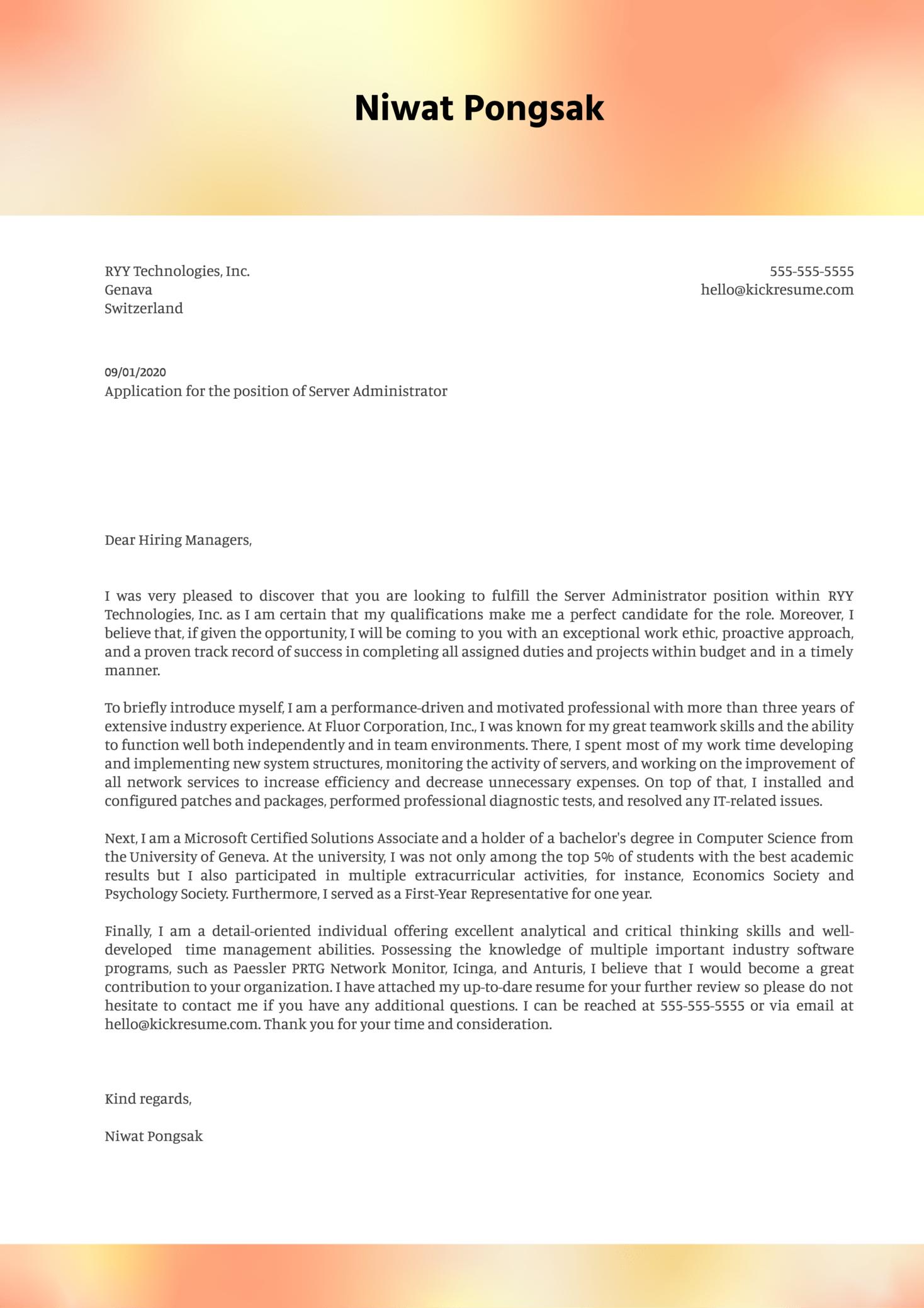 Server Administrator Cover Letter Sample