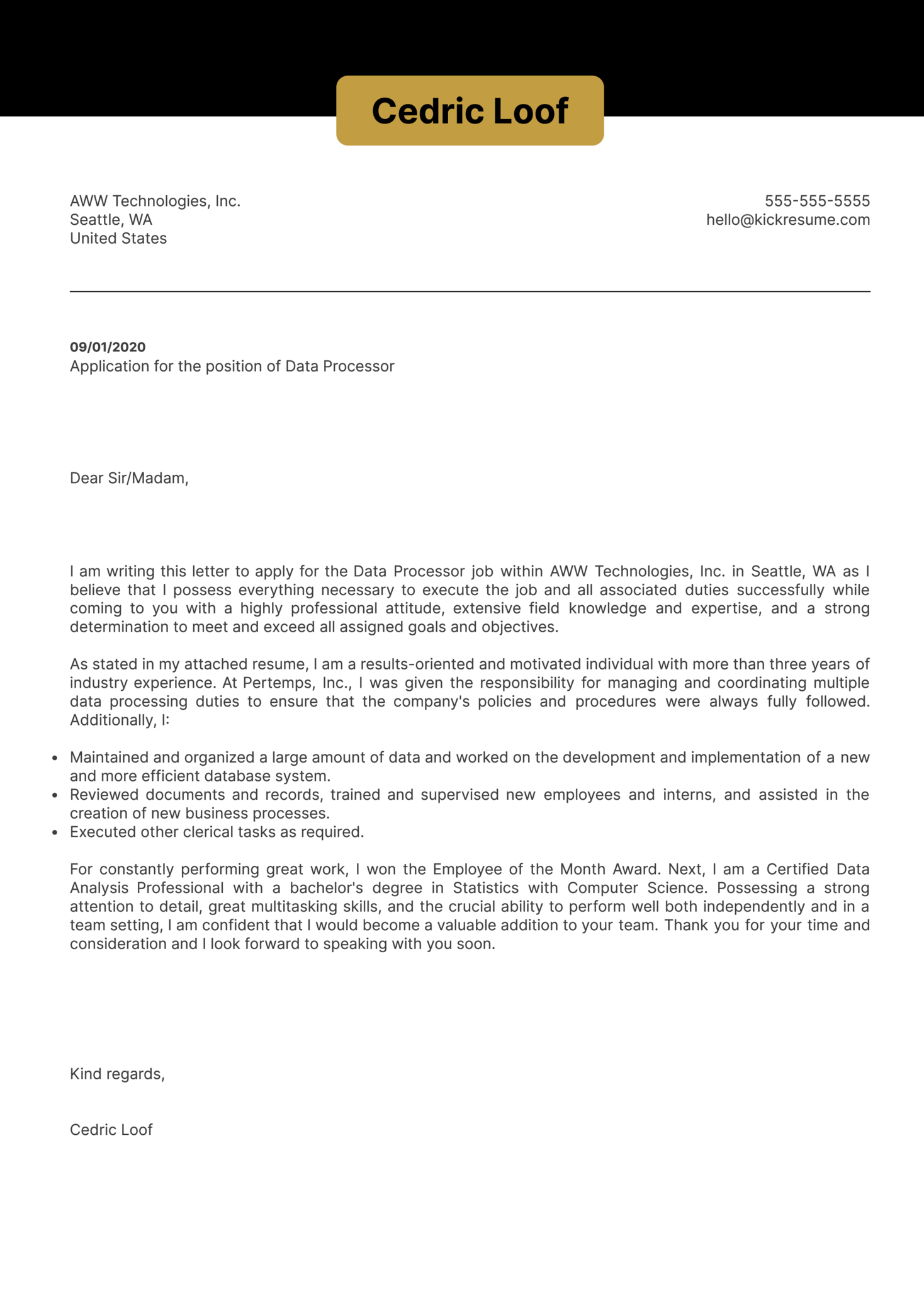 Data Processor Cover Letter Example