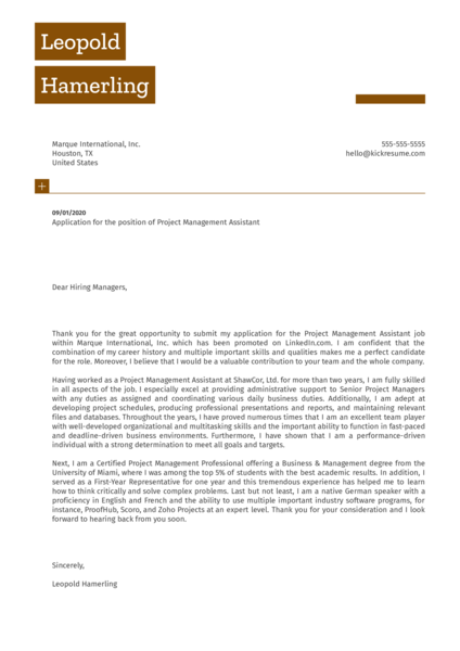 Project Management Assistant Cover Letter Sample