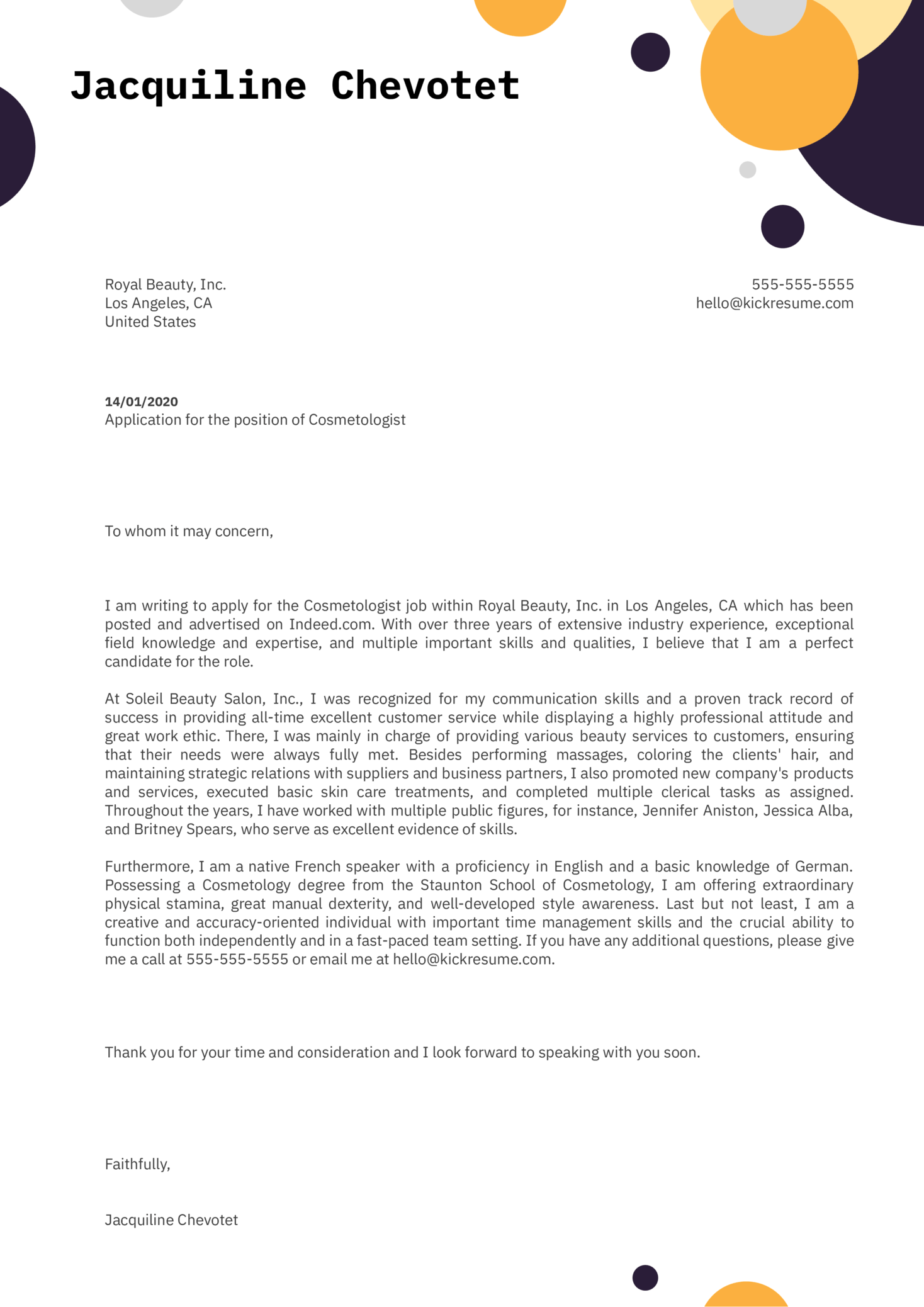 Cosmetologist Cover Letter Example | Kickresume