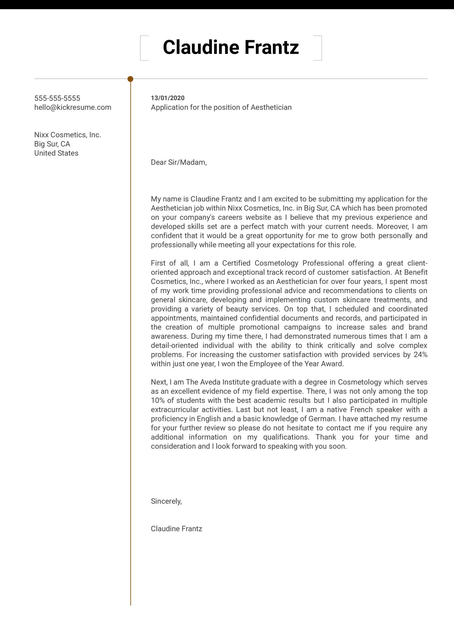 Aesthetician Cover Letter Sample