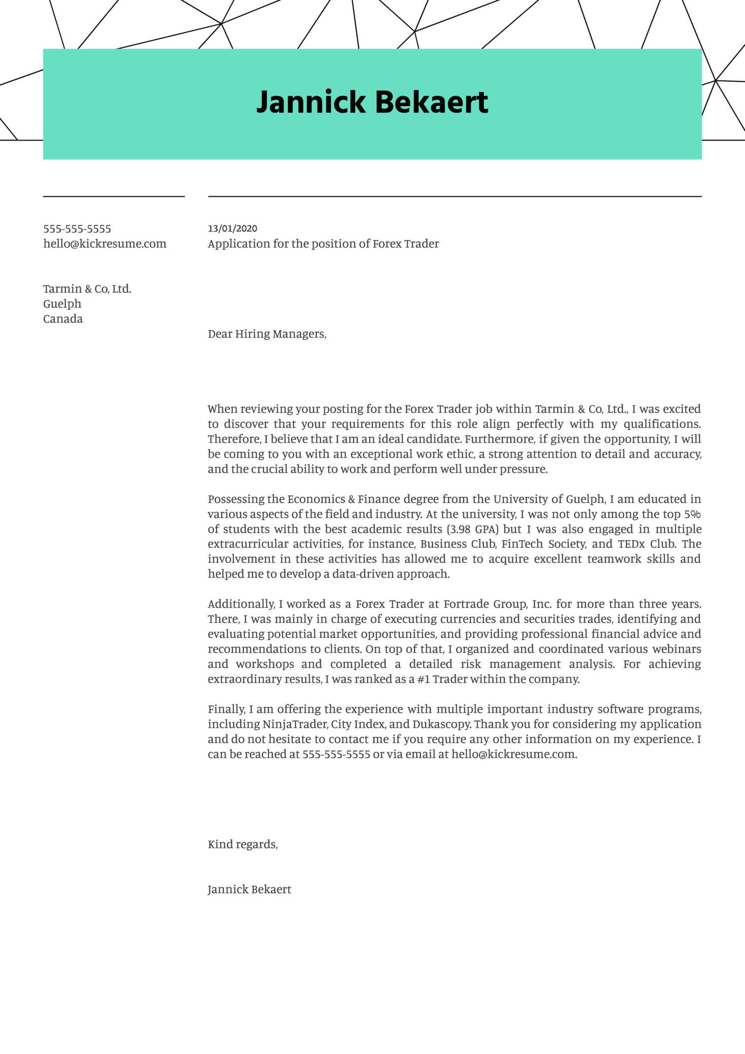 Forex Trader Cover Letter Example