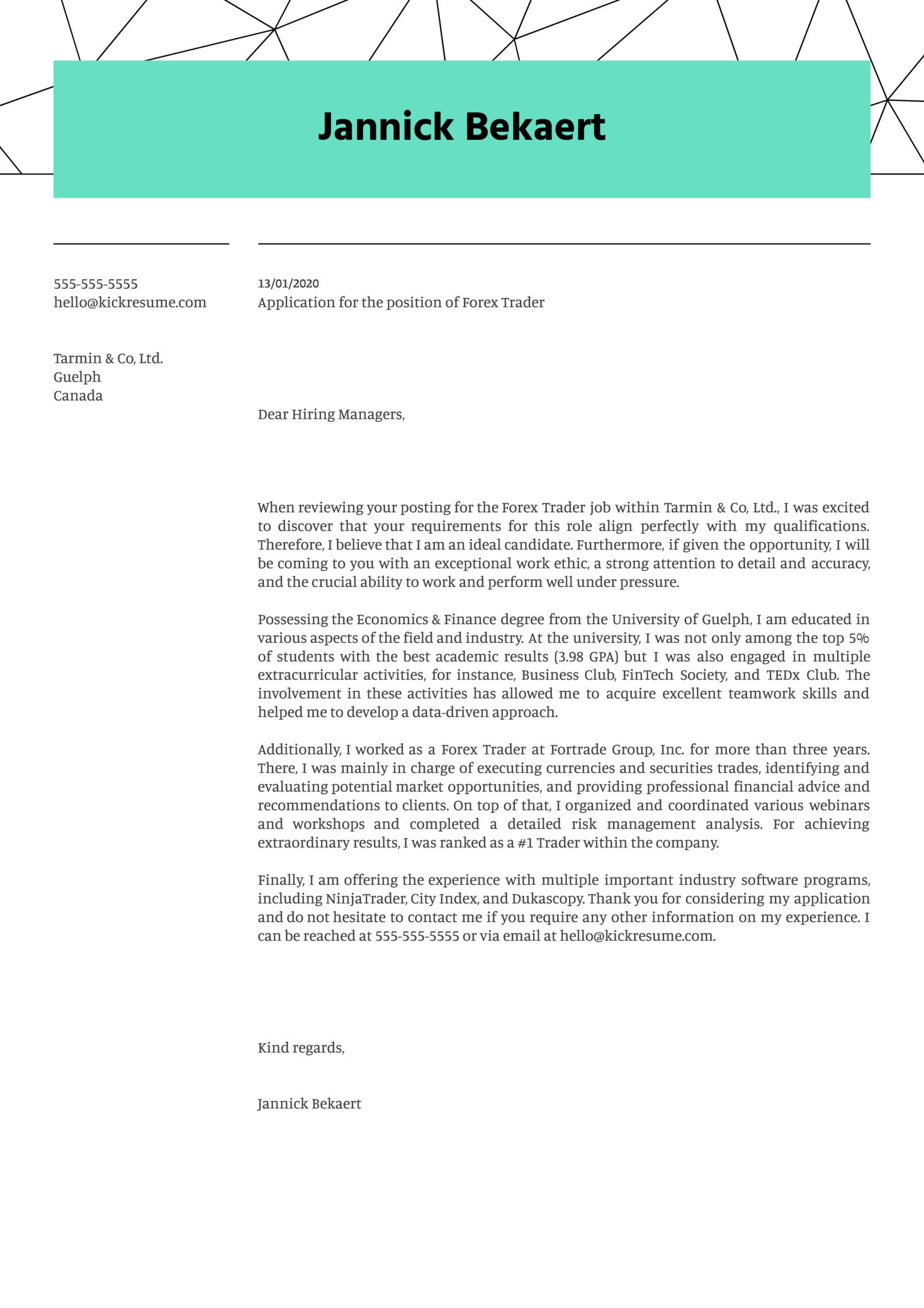 Cover letter for forex trader