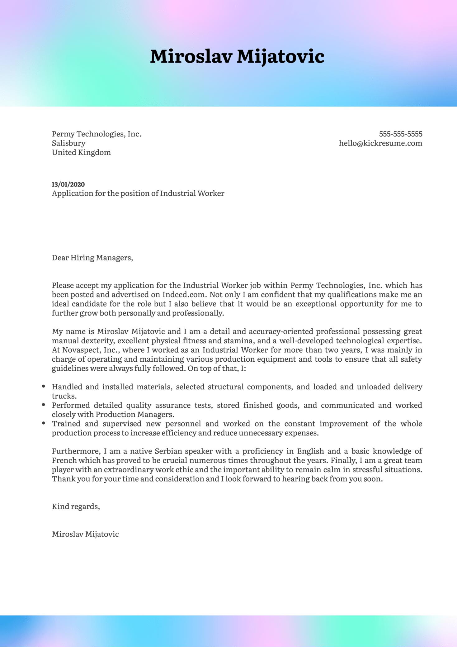 Industrial Worker Cover Letter Sample