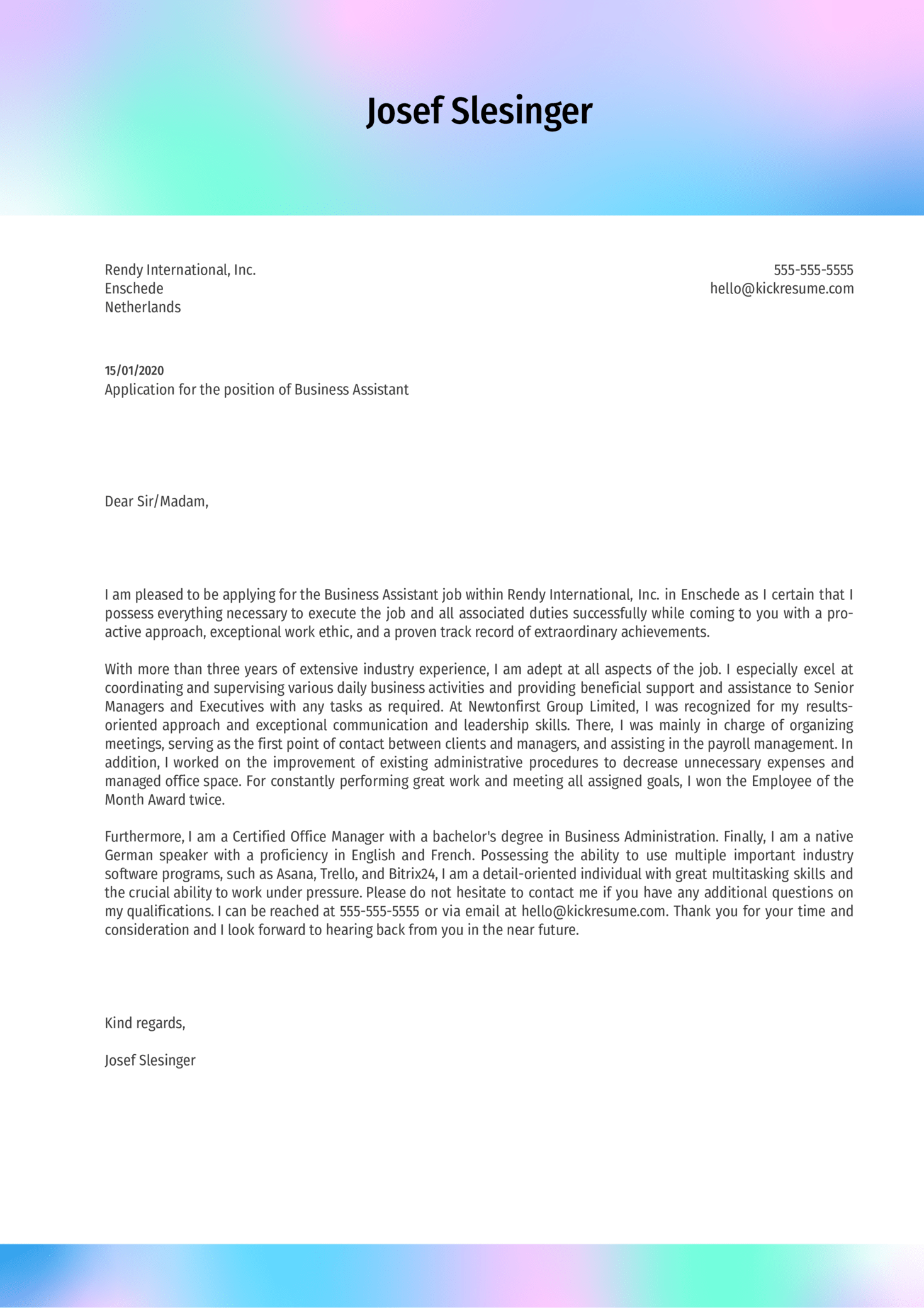 Business Assistant Cover Letter Example