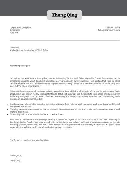 Vault Teller Cover Letter Example