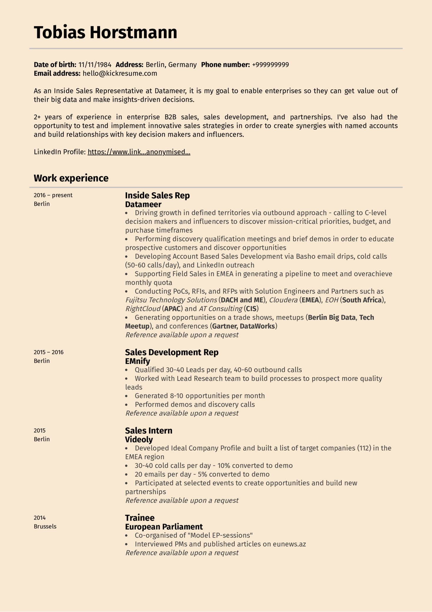 resume examples by real people  sales development