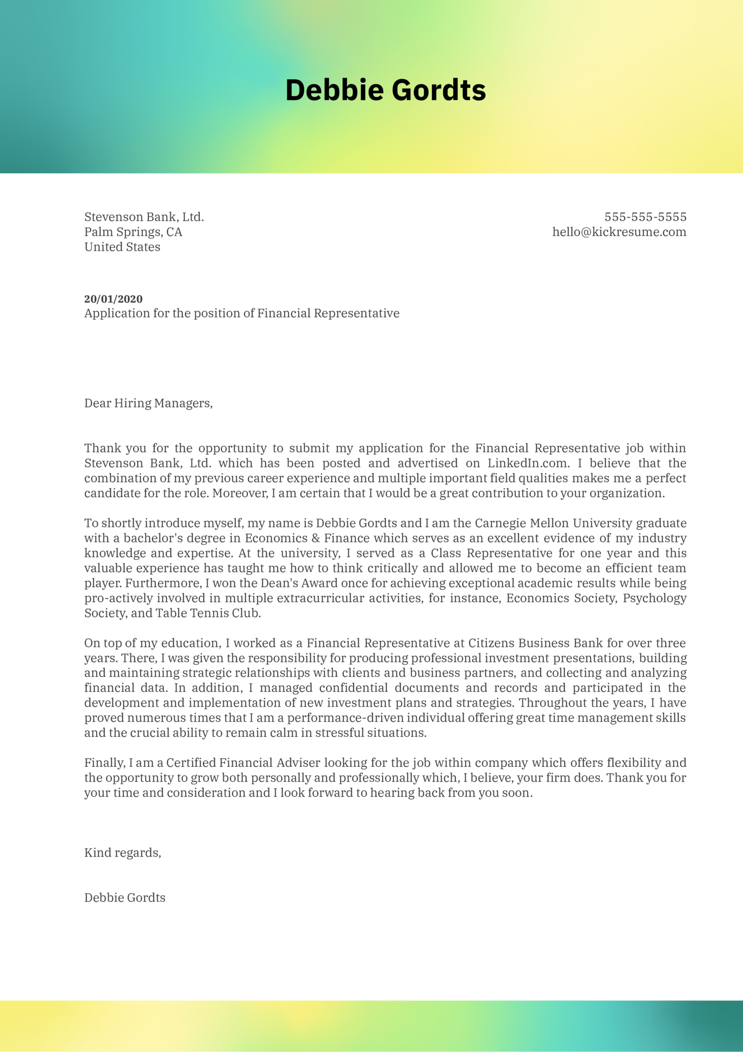 cover letter examples by real people  financial