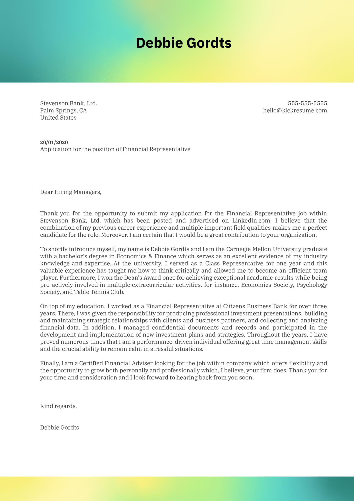 Financial Representative Cover Letter Sample