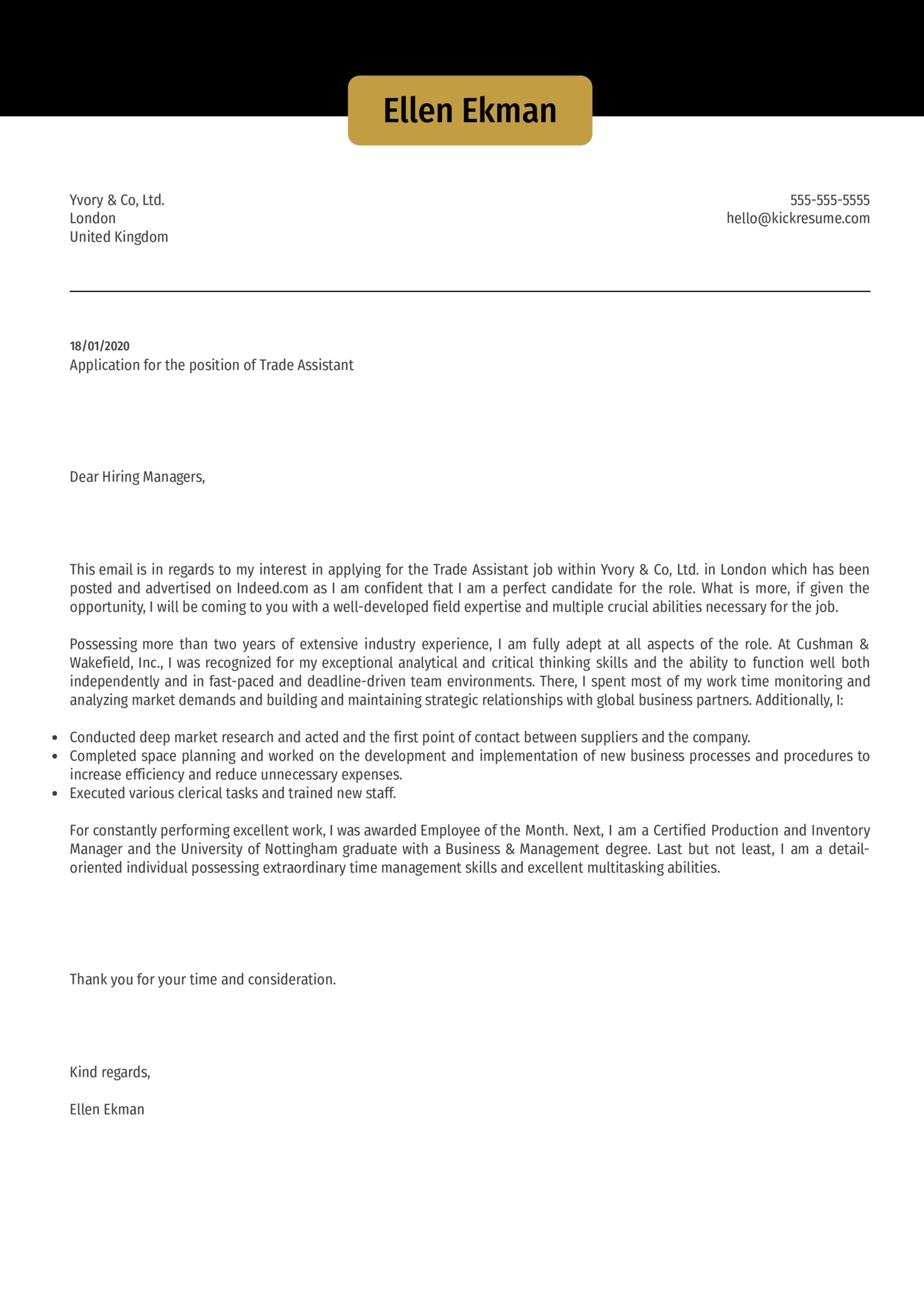 Trade Assistant Cover Letter Template