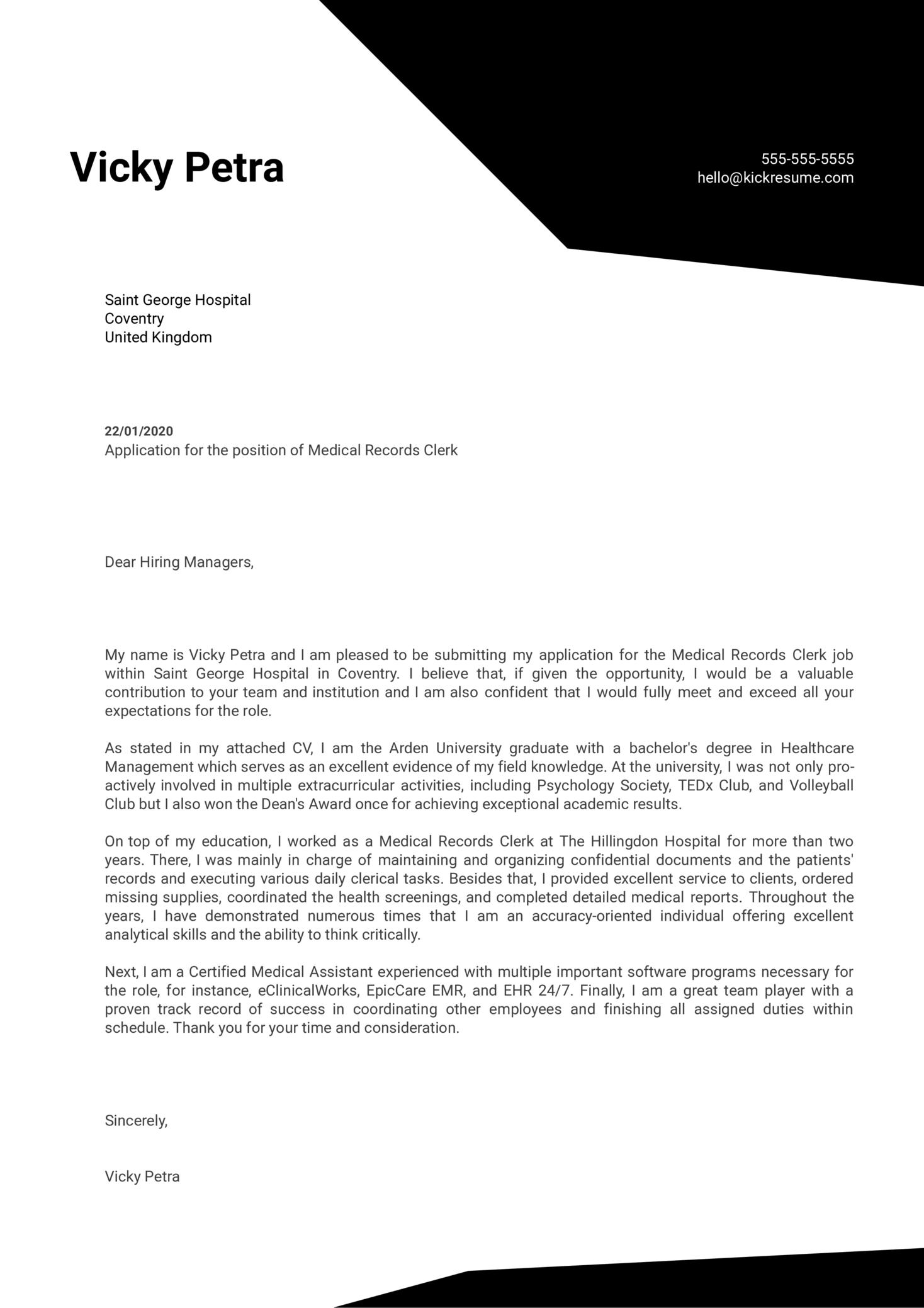 Medical Records Clerk Cover Letter Sample Kickresume