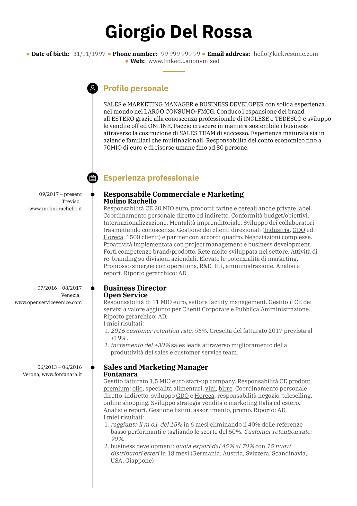 Sales and marketing manager resume example [Italian] | Resume ...