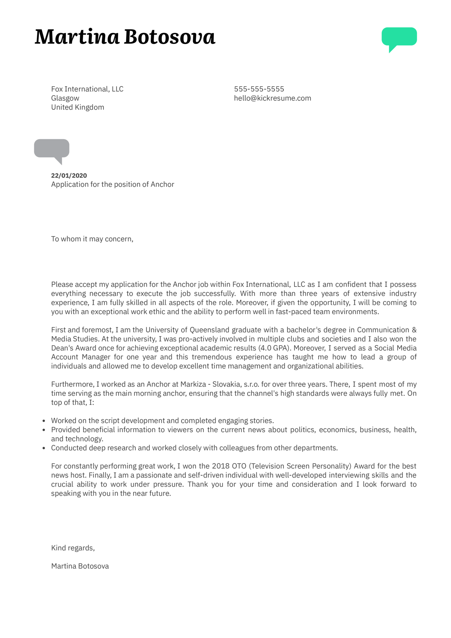 Anchor Cover Letter Example