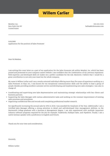 Sales Promoter Cover Letter Sample