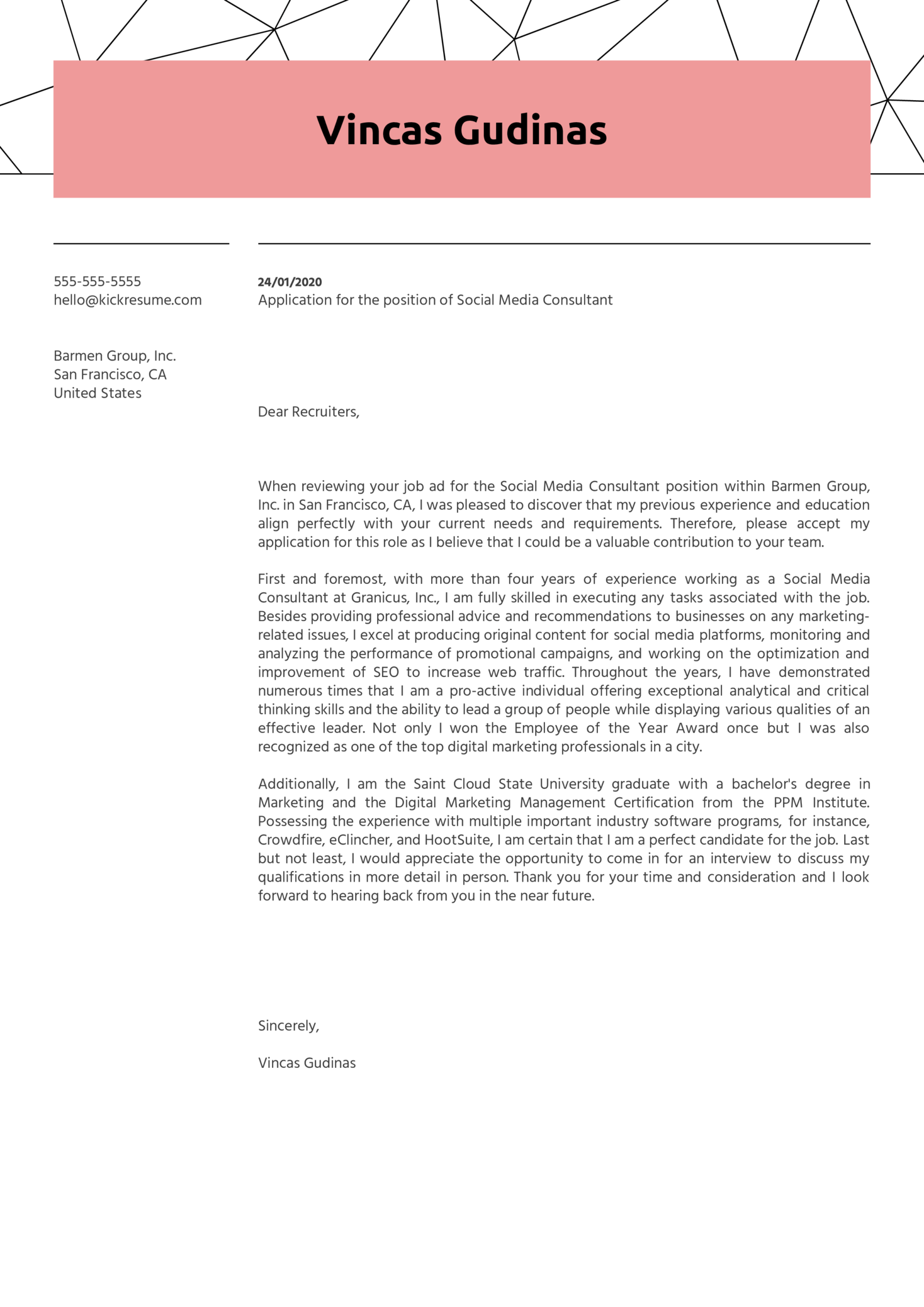 Social Media Consultant Cover Letter Example