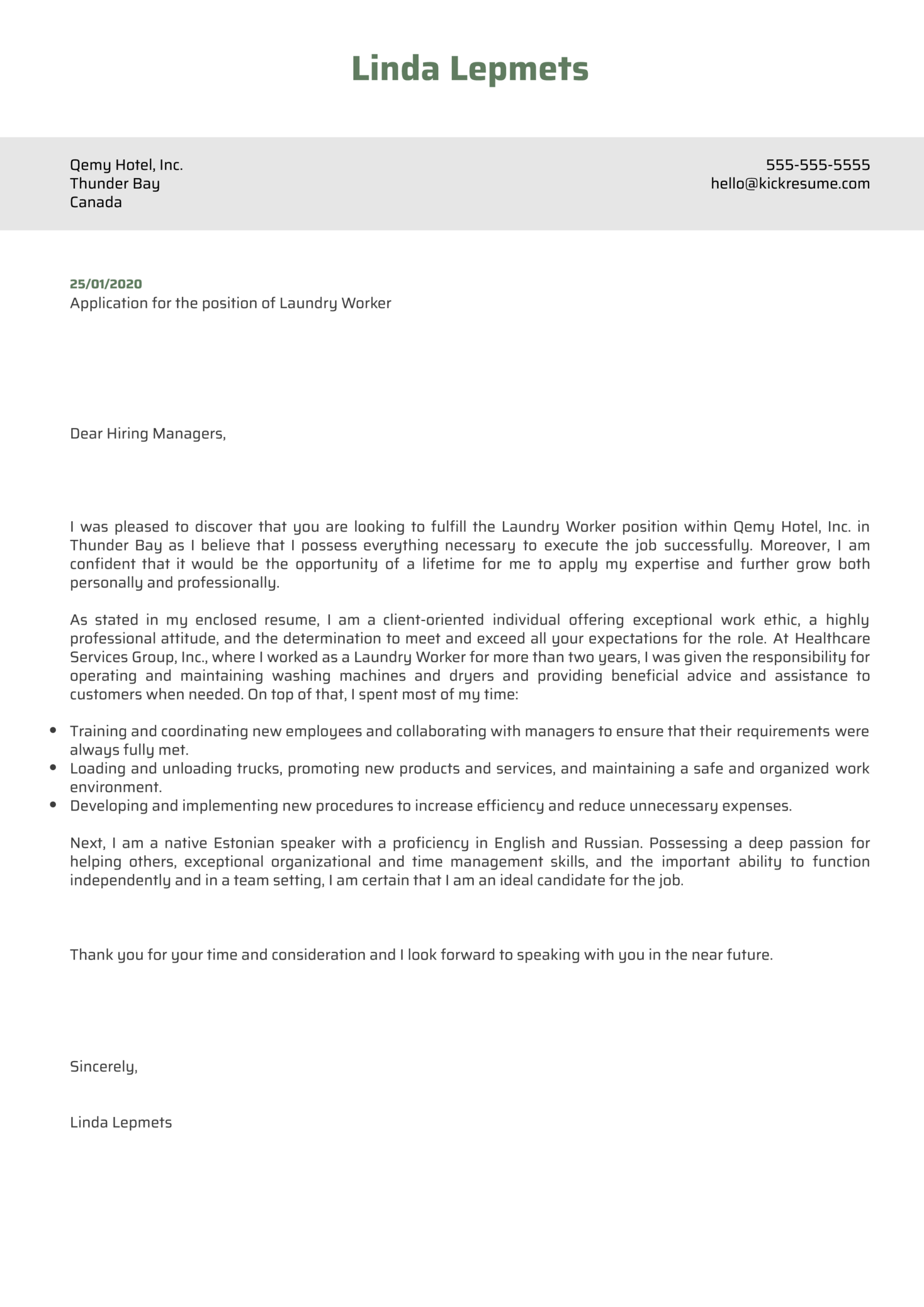 Laundry Worker Cover Letter Example Kickresume