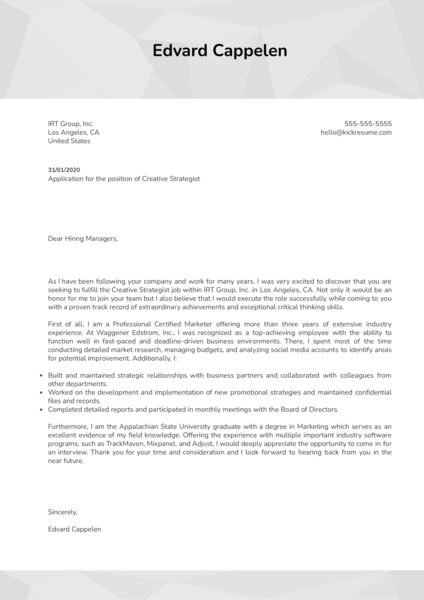 Creative Strategist Cover Letter Template