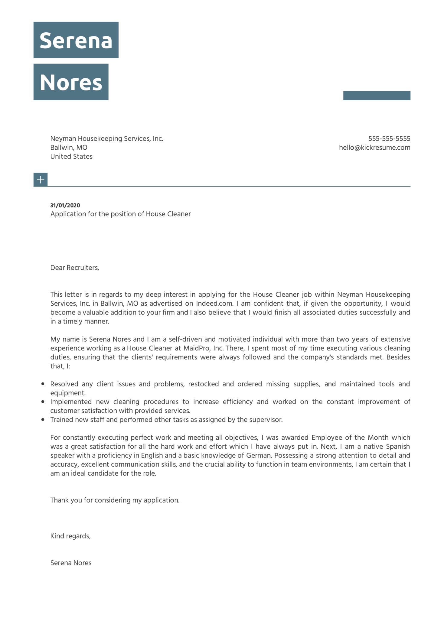 House Cleaner Cover Letter Sample Kickresume