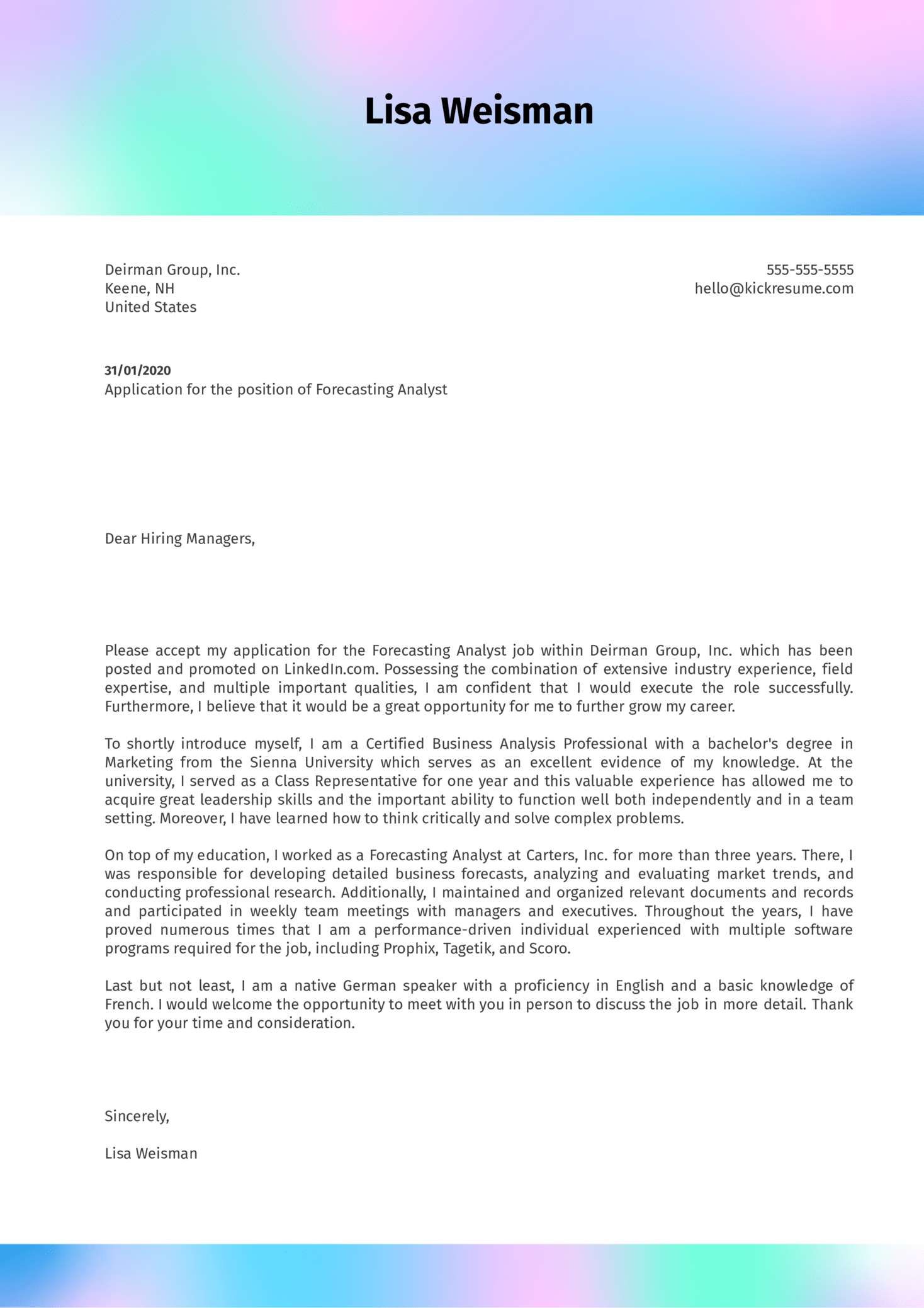 cover letter examples by real people  forecasting analyst cover letter sample