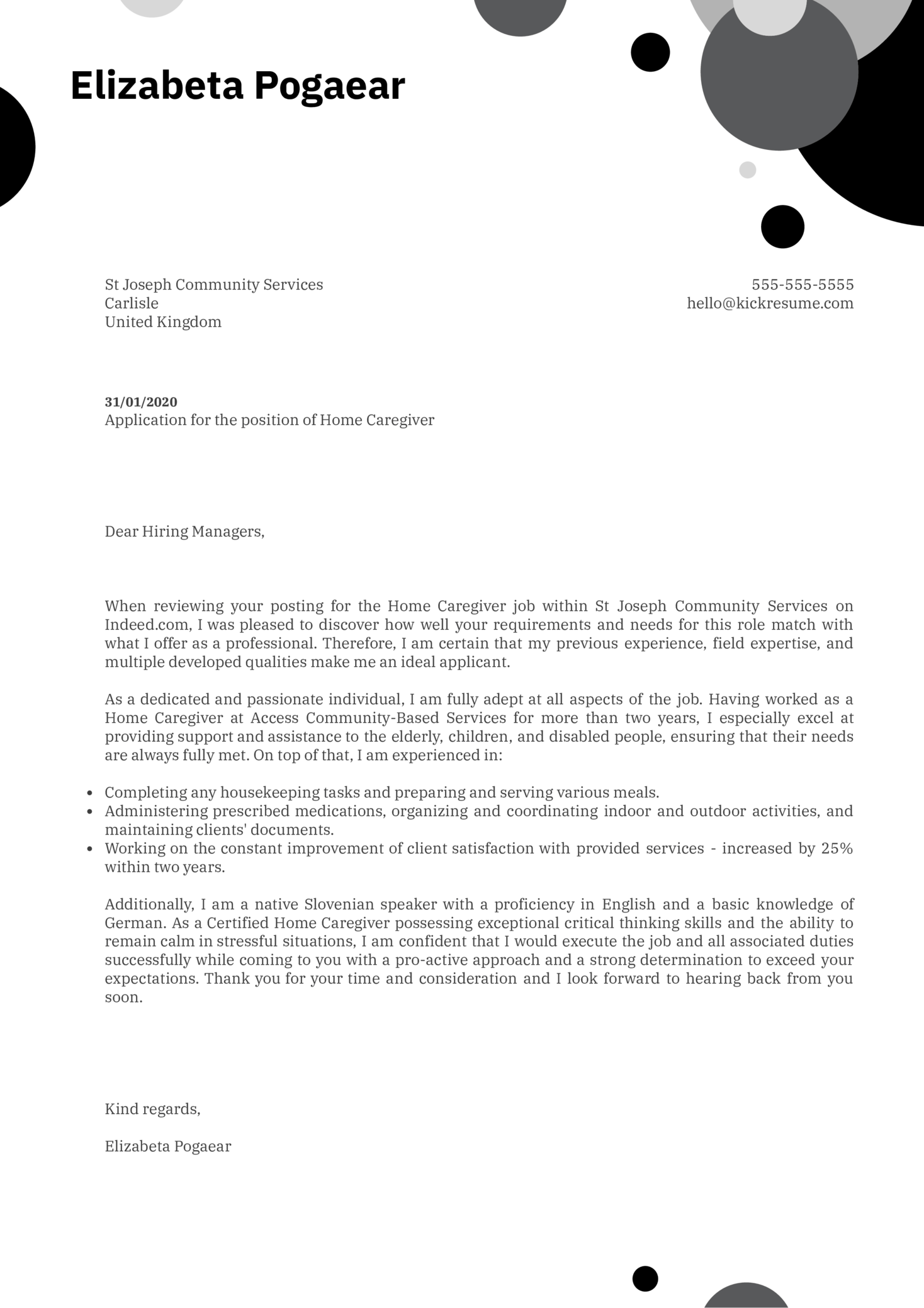 Home Caregiver Cover Letter Example