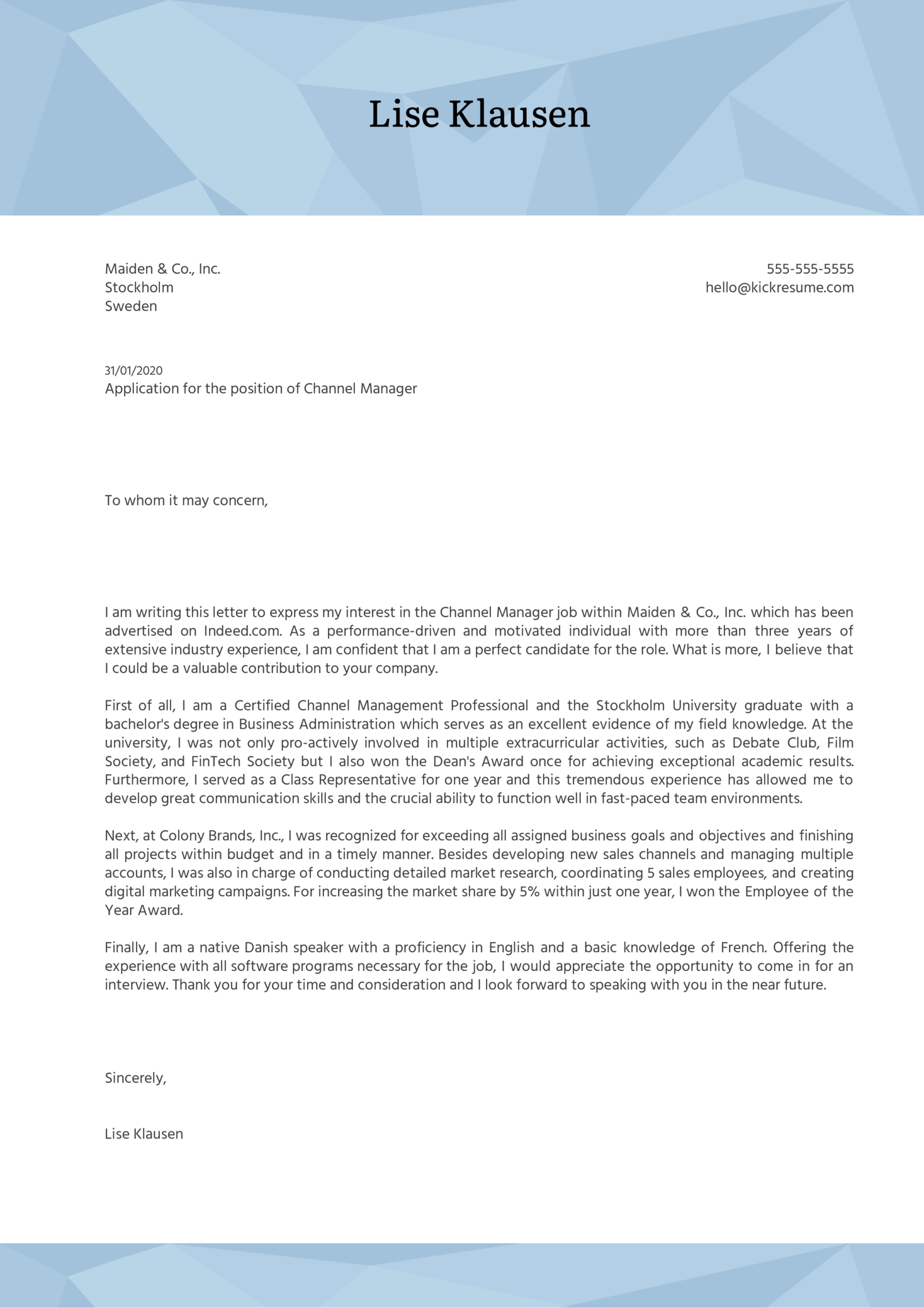 cover letter examples for account manager position