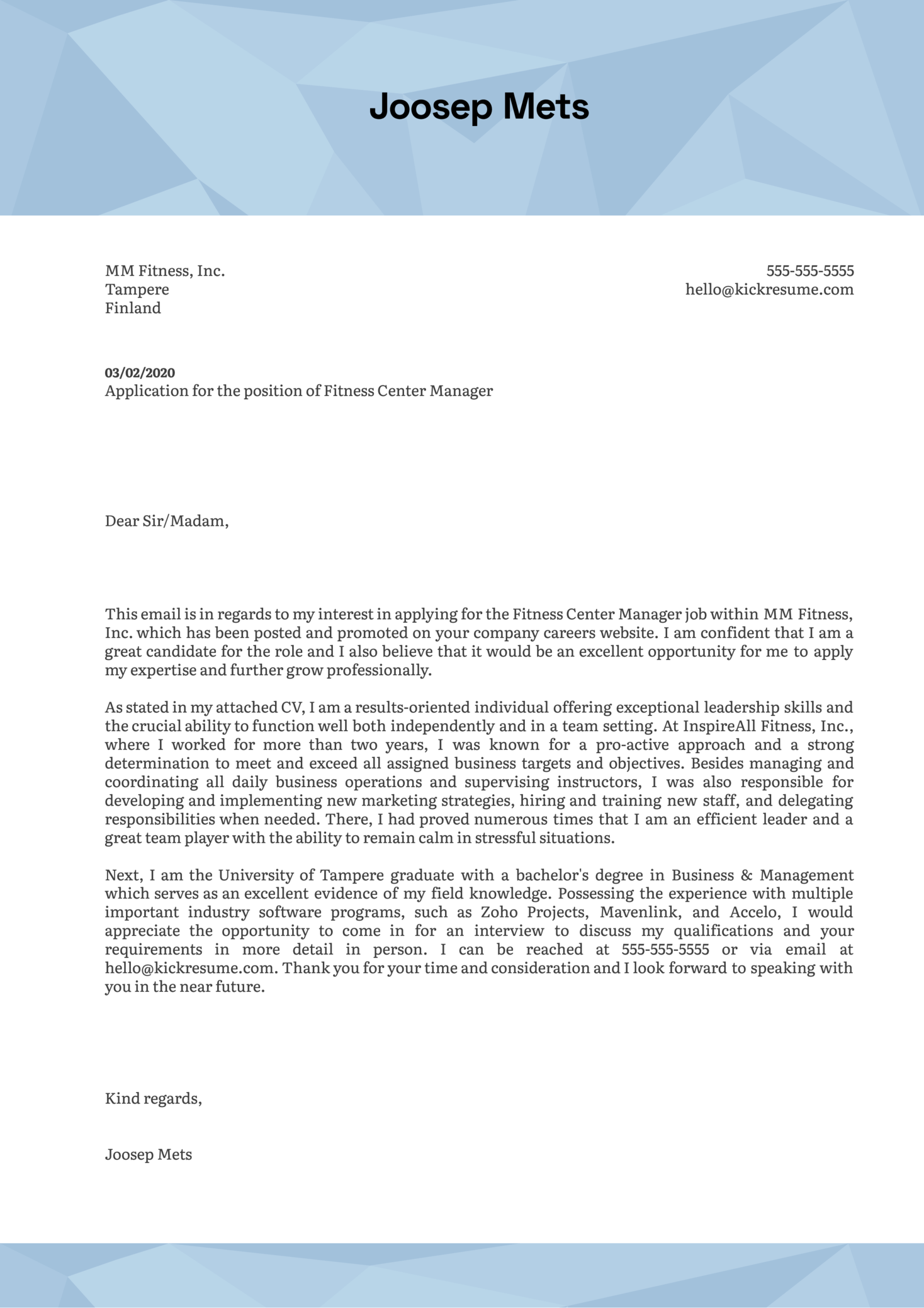 Fitness Center Manager Cover Letter Example