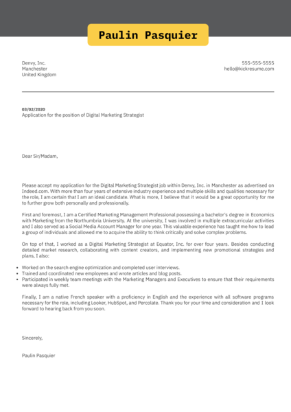 Digital Marketing Strategist Cover Letter Sample