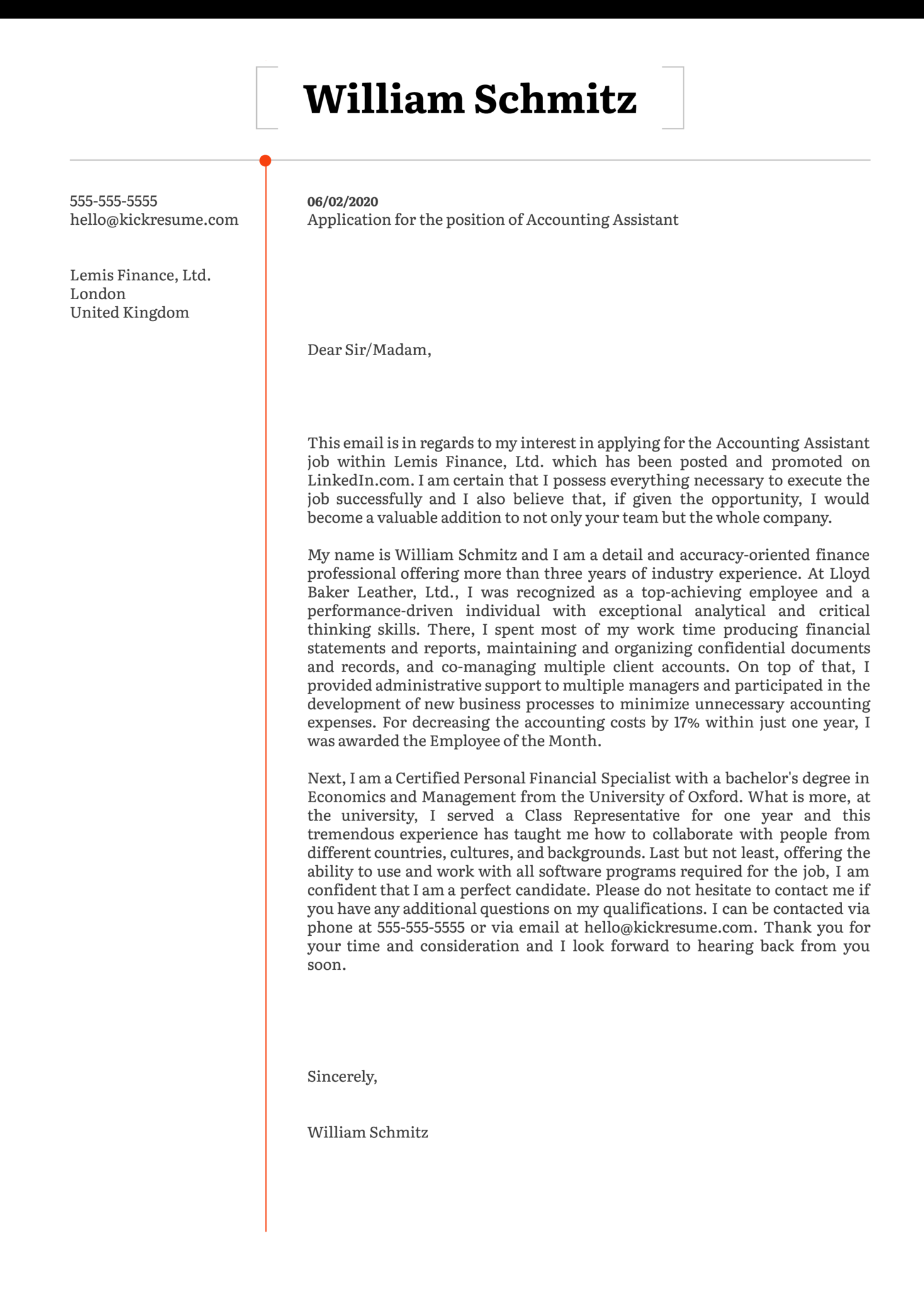 Accounting Assistant Cover Letter Template