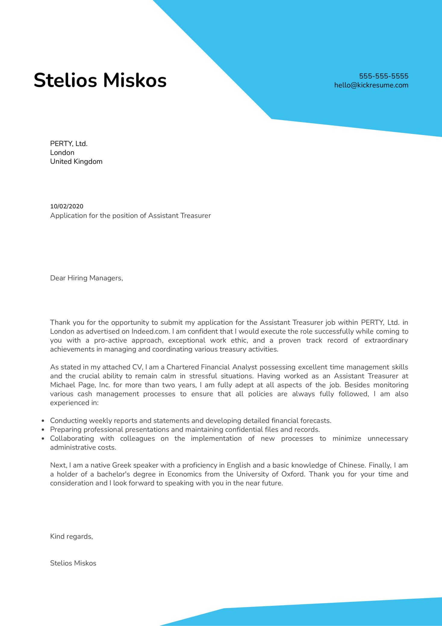 Assistant Treasurer Cover Letter Sample