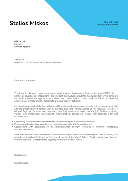 Assistant Treasurer Cover Letter Sample