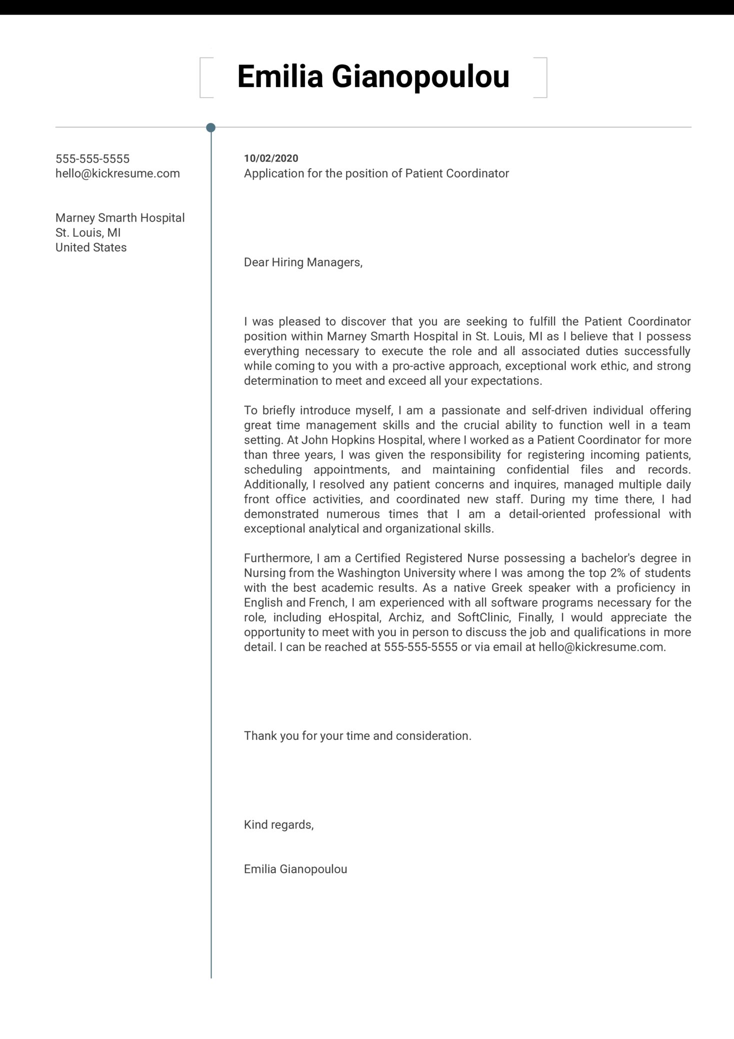 Patient Coordinator Cover Letter Example