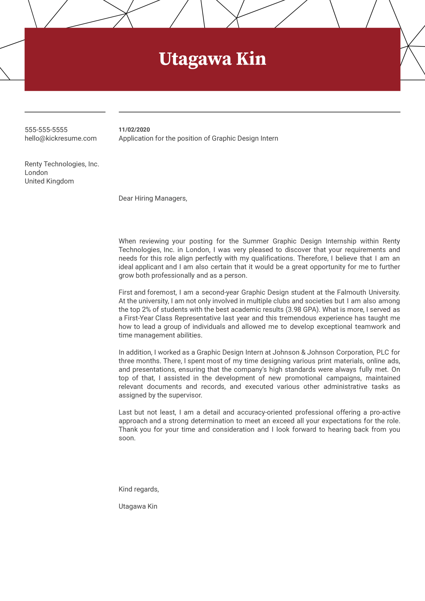 Graphic Design Internship Cover Letter Example