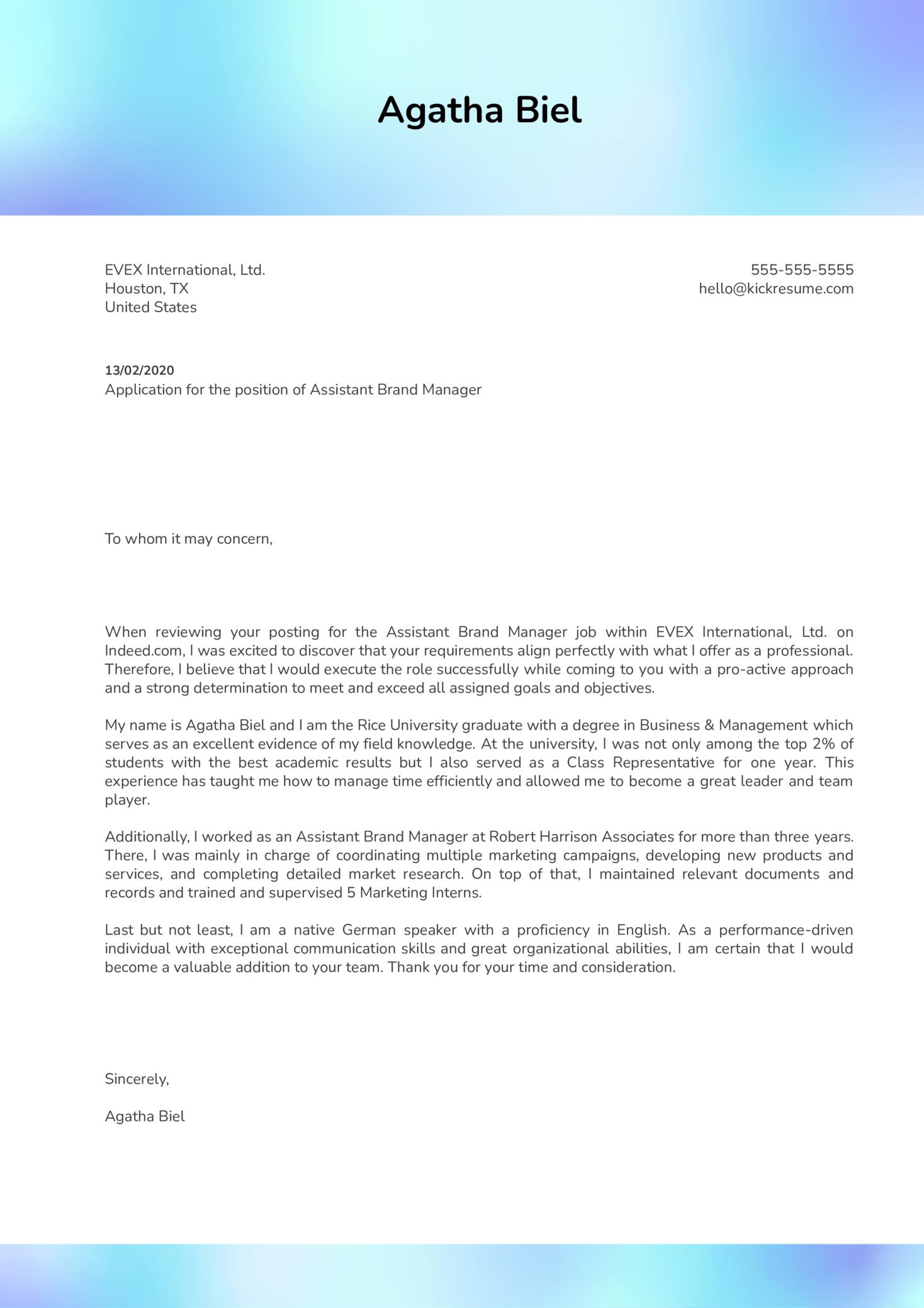 Assistant Brand Manager Cover Letter Sample Kickresume