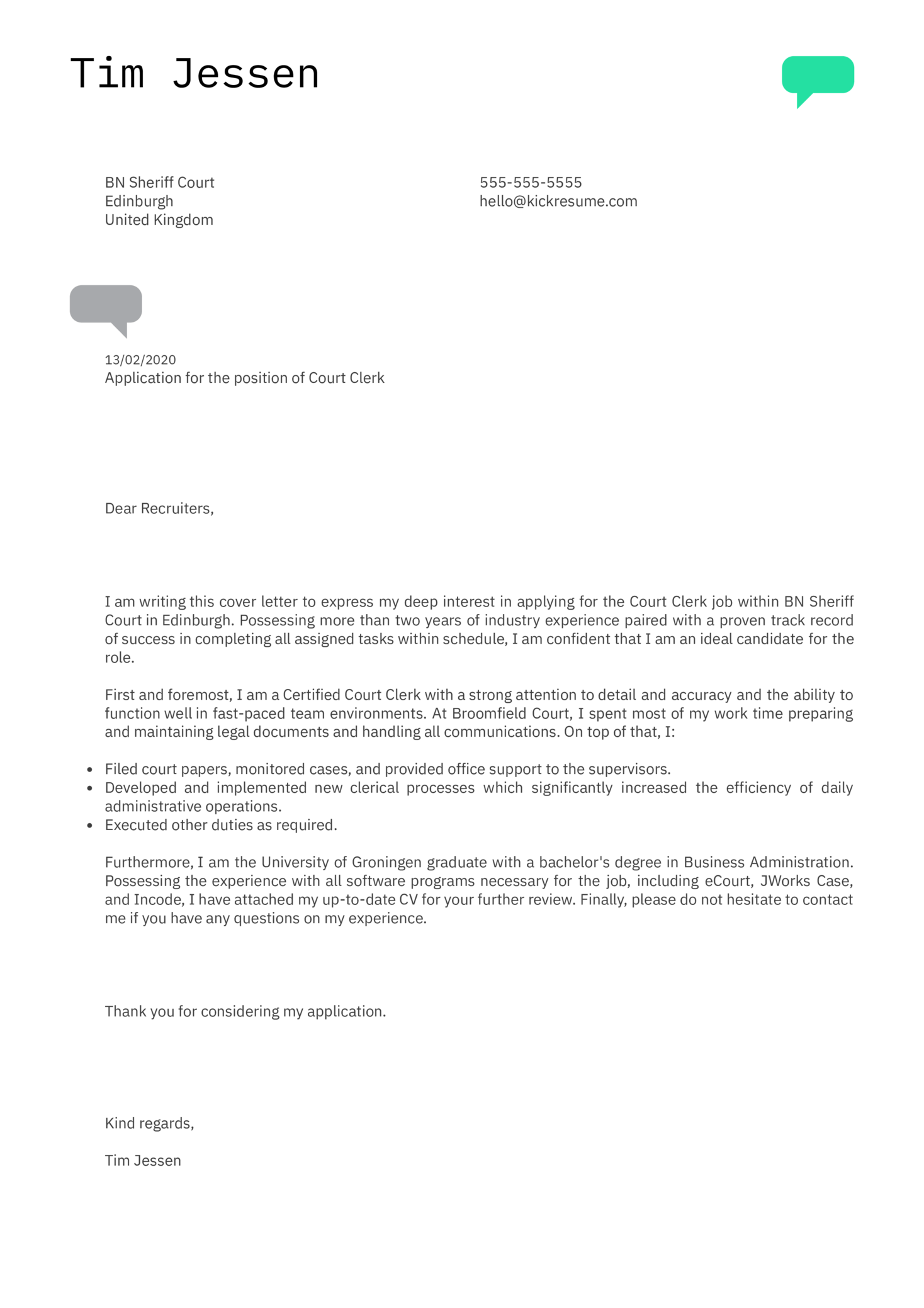 Court Clerk Cover Letter Example