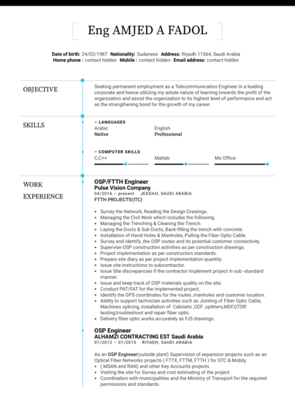 OSP Engineer Resume Template