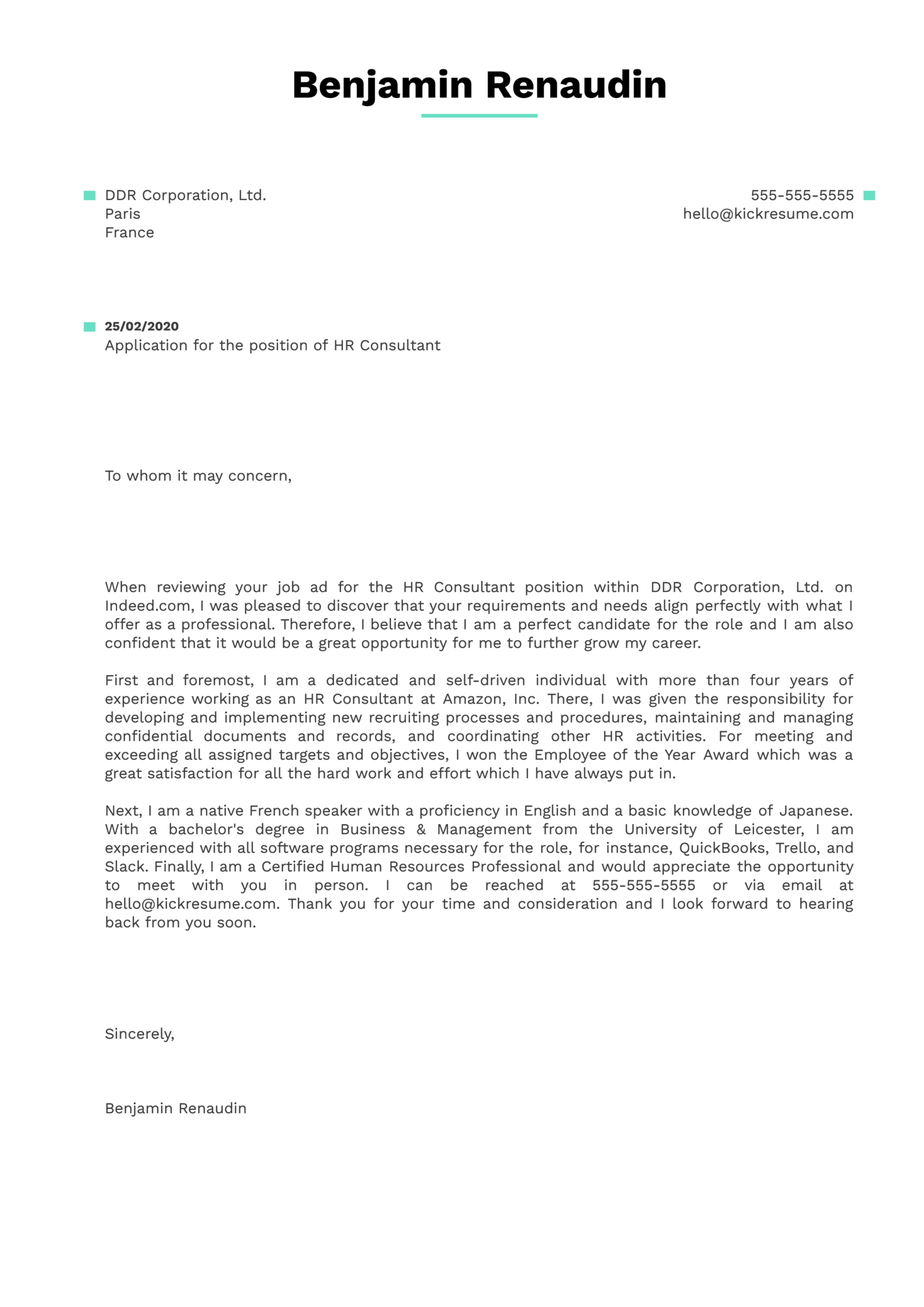 HR Consultant Cover Letter Sample