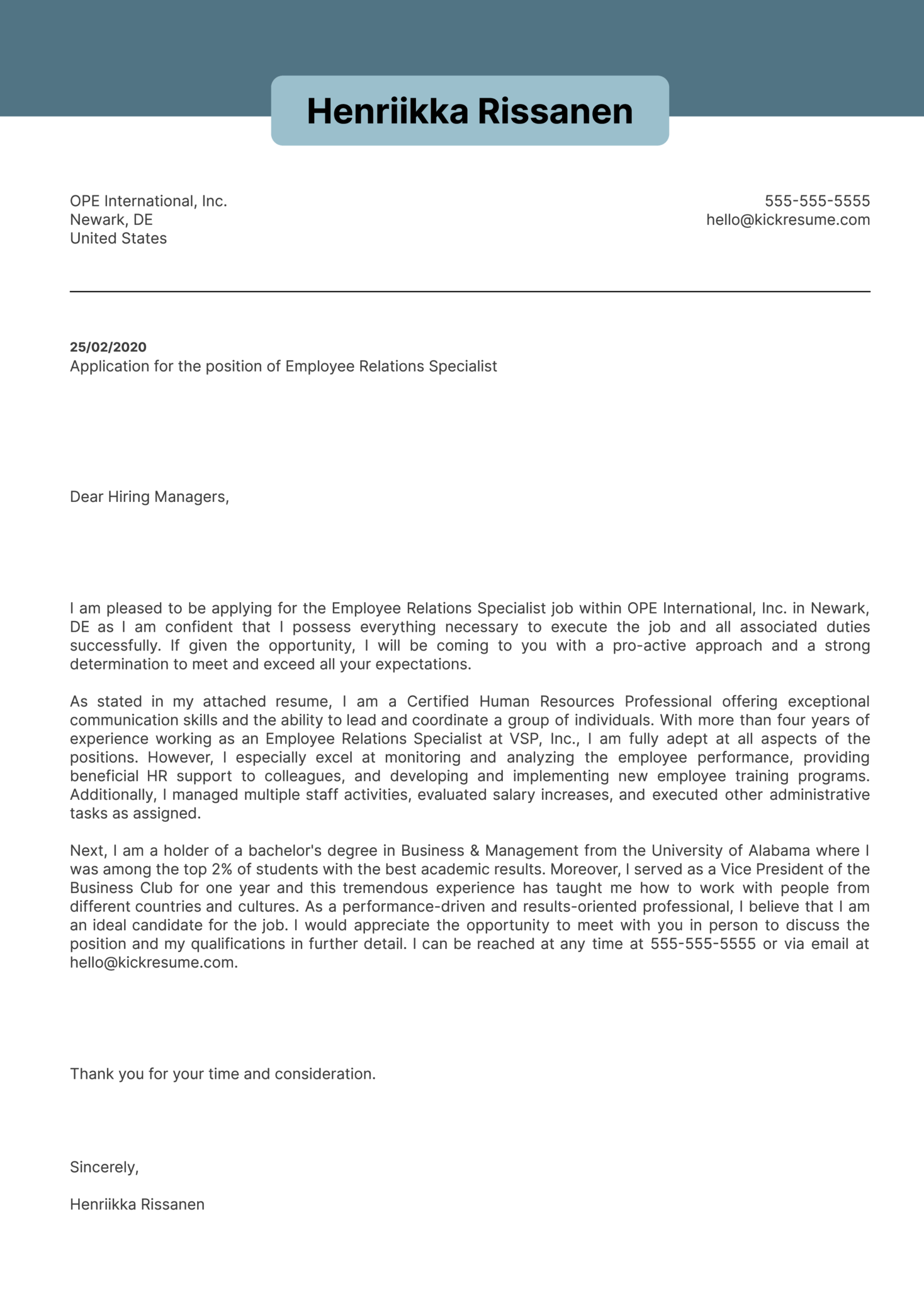 Employee Relations Specialist Cover Letter Example