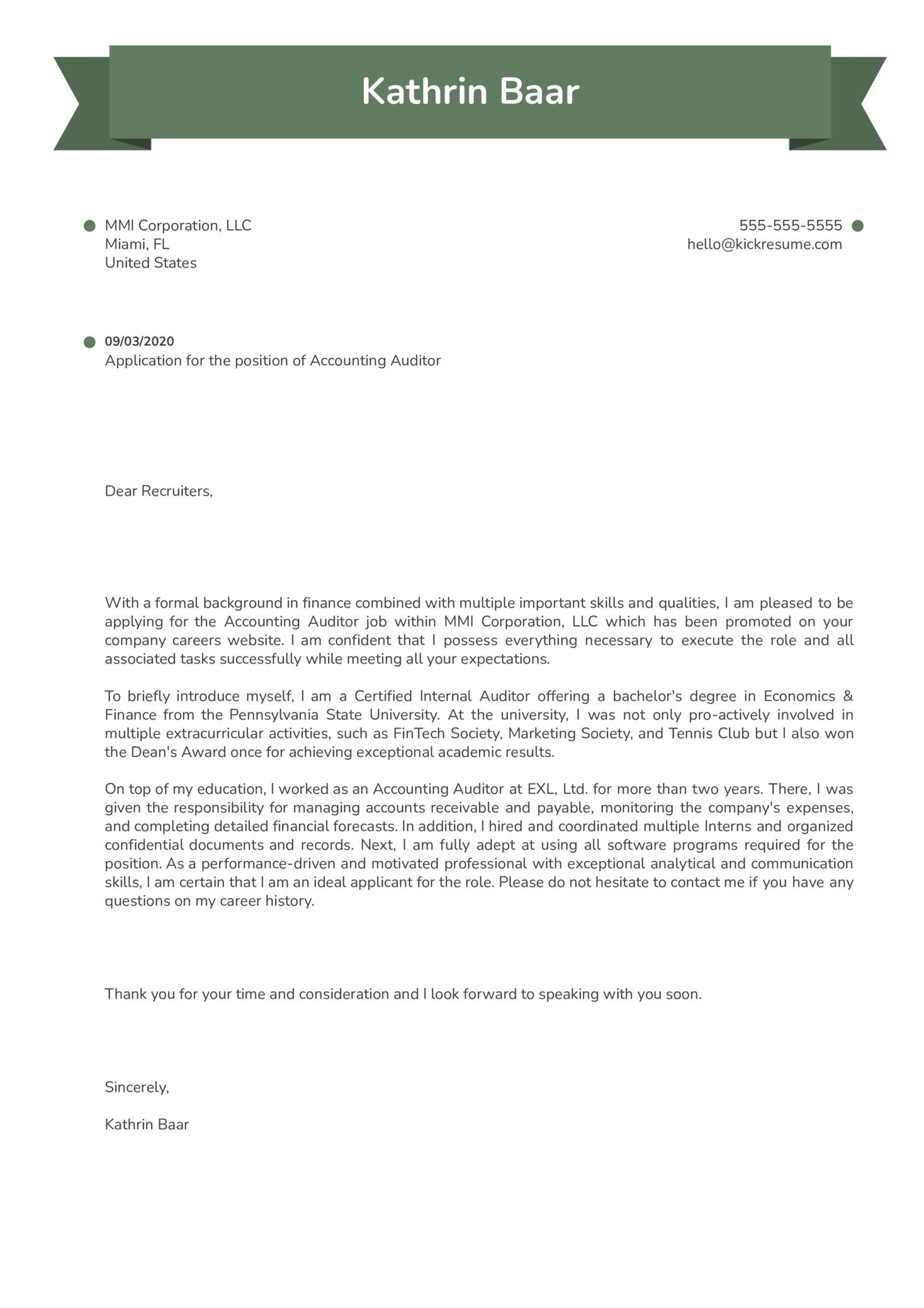 Cover letter samples for internal auditor spanish american war short essay