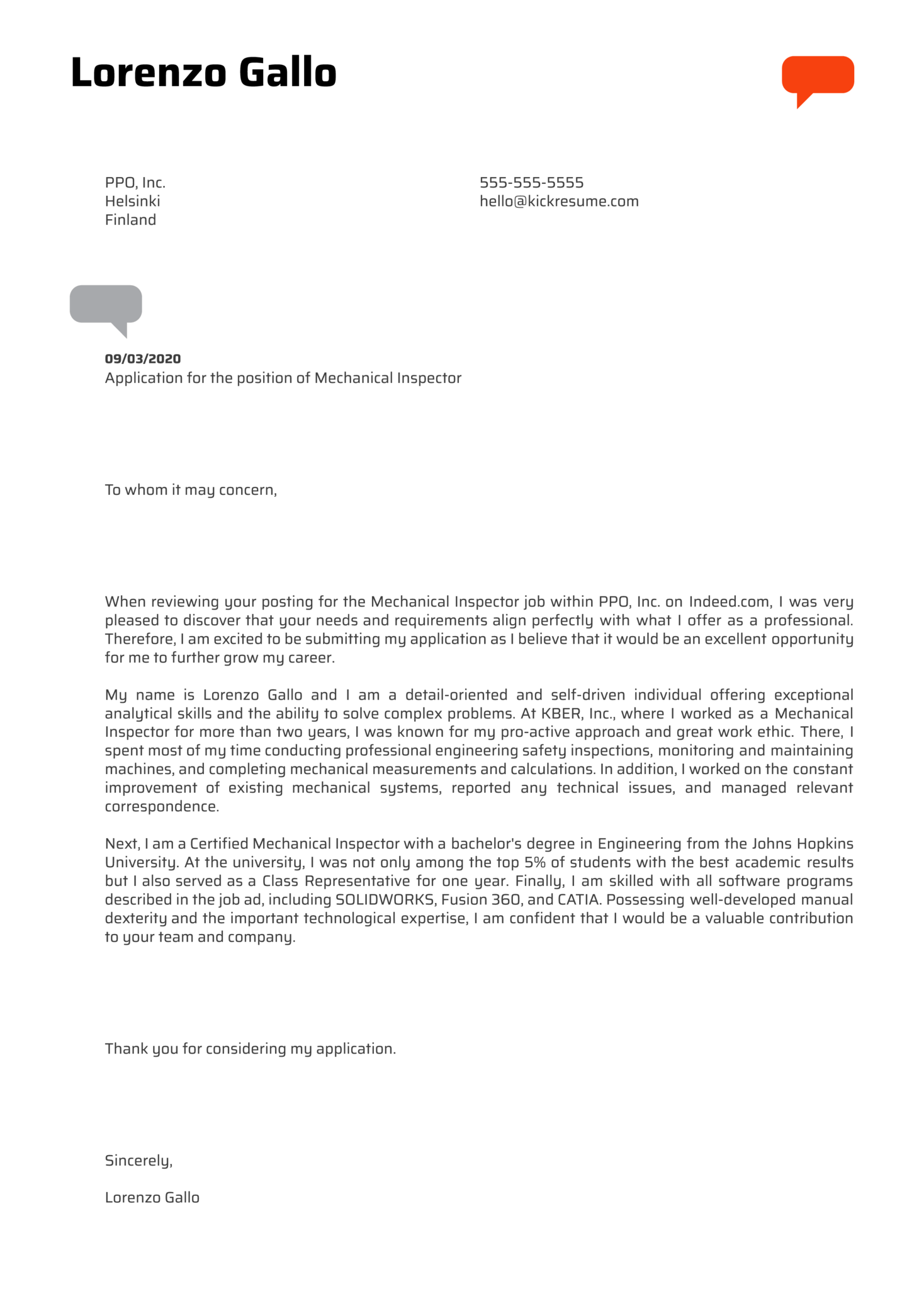 Mechanical Inspector Cover Letter Example