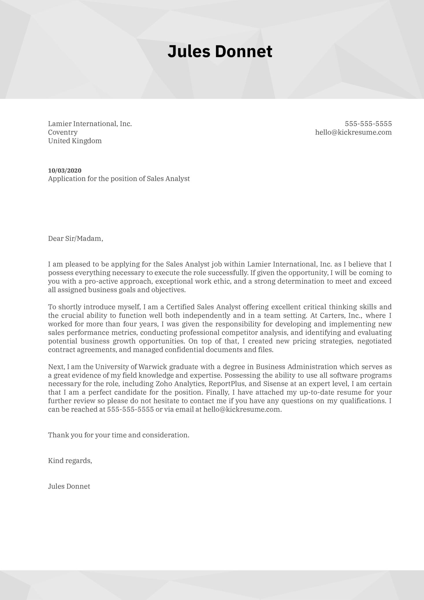Sales Analyst Cover Letter Sample Kickresume