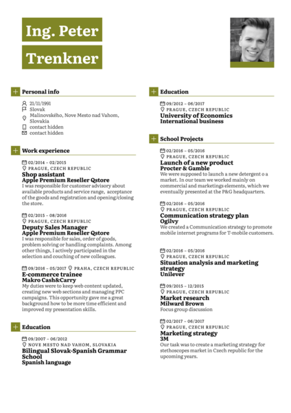 Junior product line manager resume template