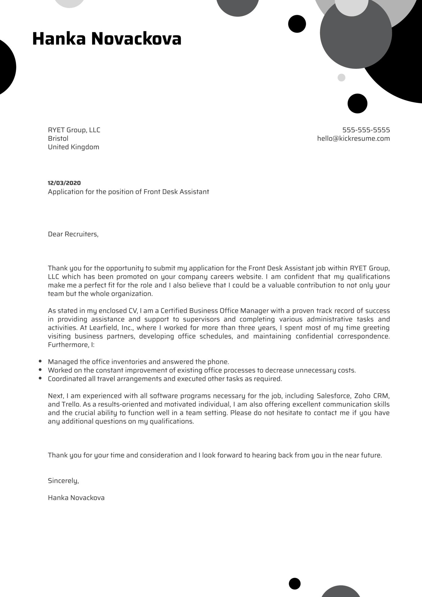 Front Desk Assistant Cover Letter Sample