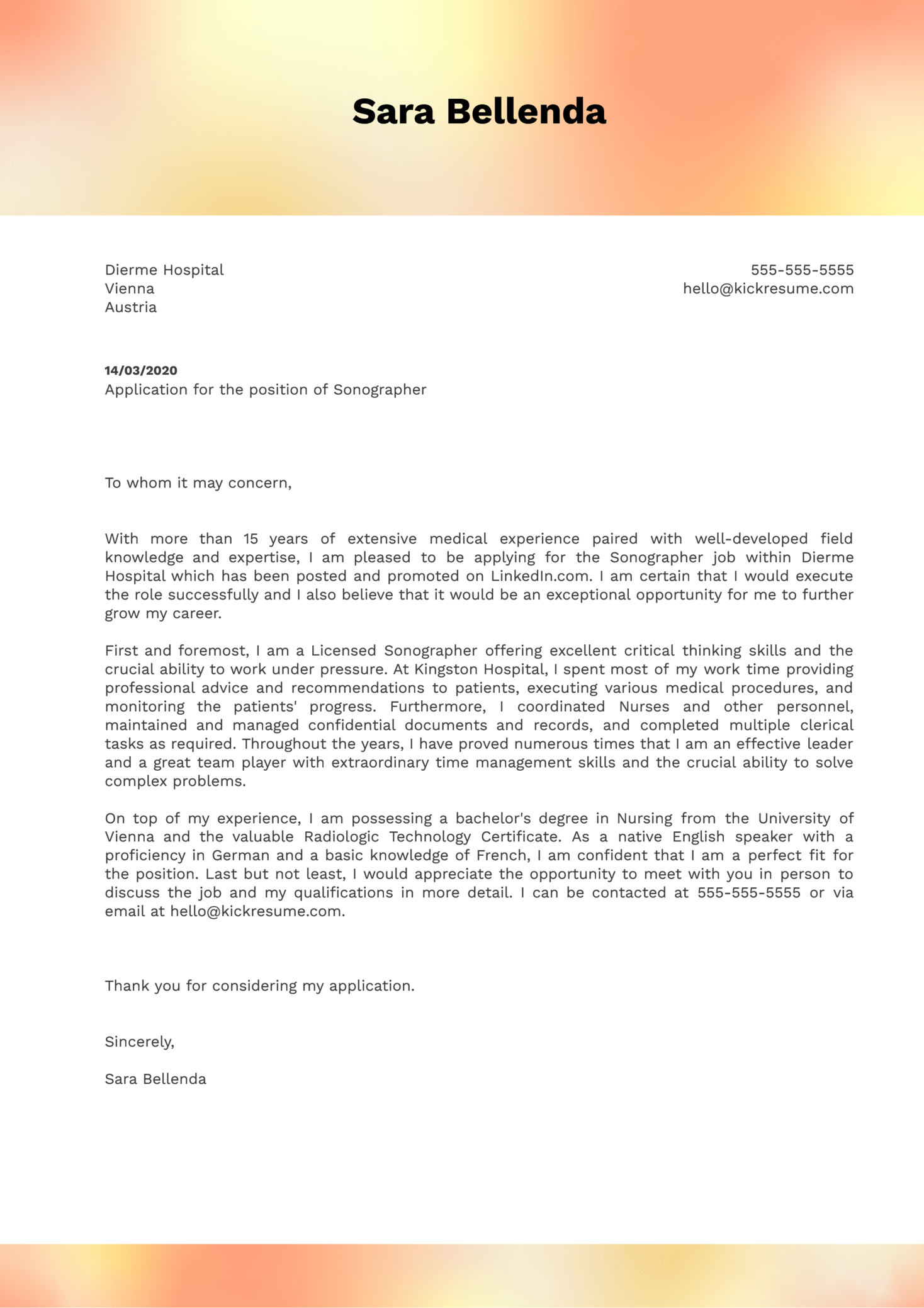 Sonographer Cover Letter Example