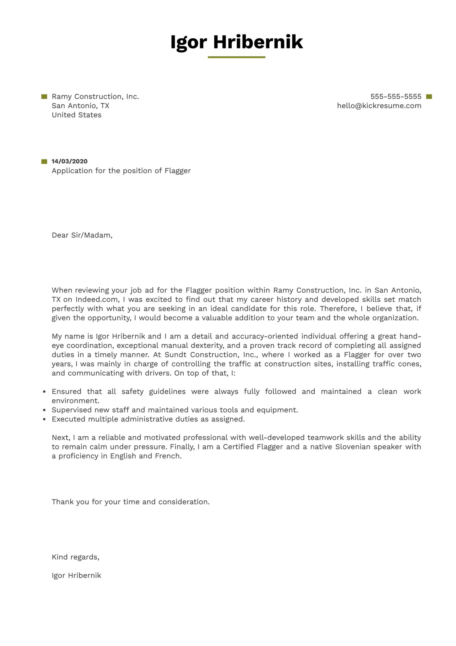 Flagger Cover Letter Sample