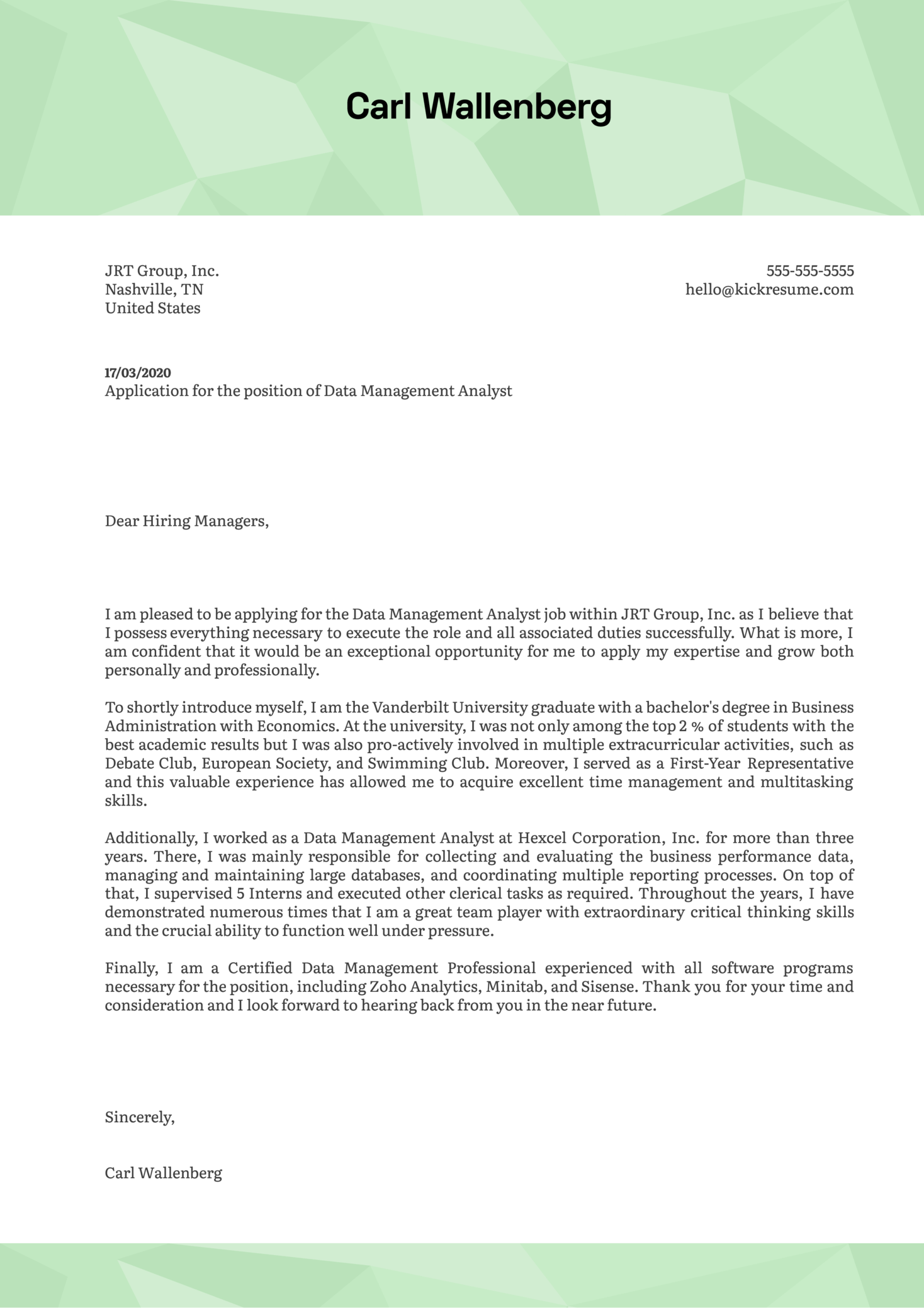 Data Management Analyst Cover Letter Sample