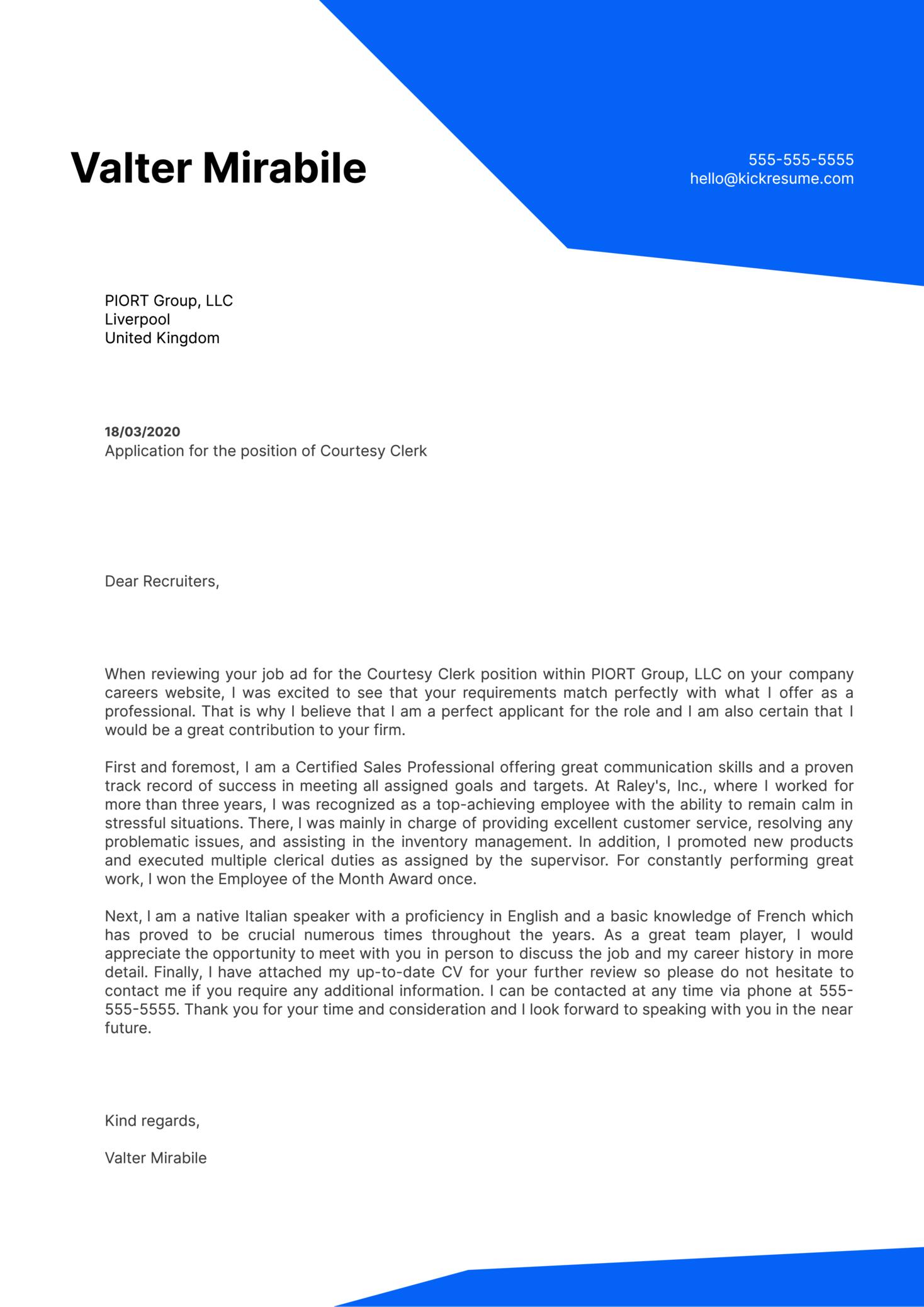 Courtesy Clerk Cover Letter Sample