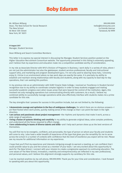 associate director cover letter sample - Cover Letter Sample For Students