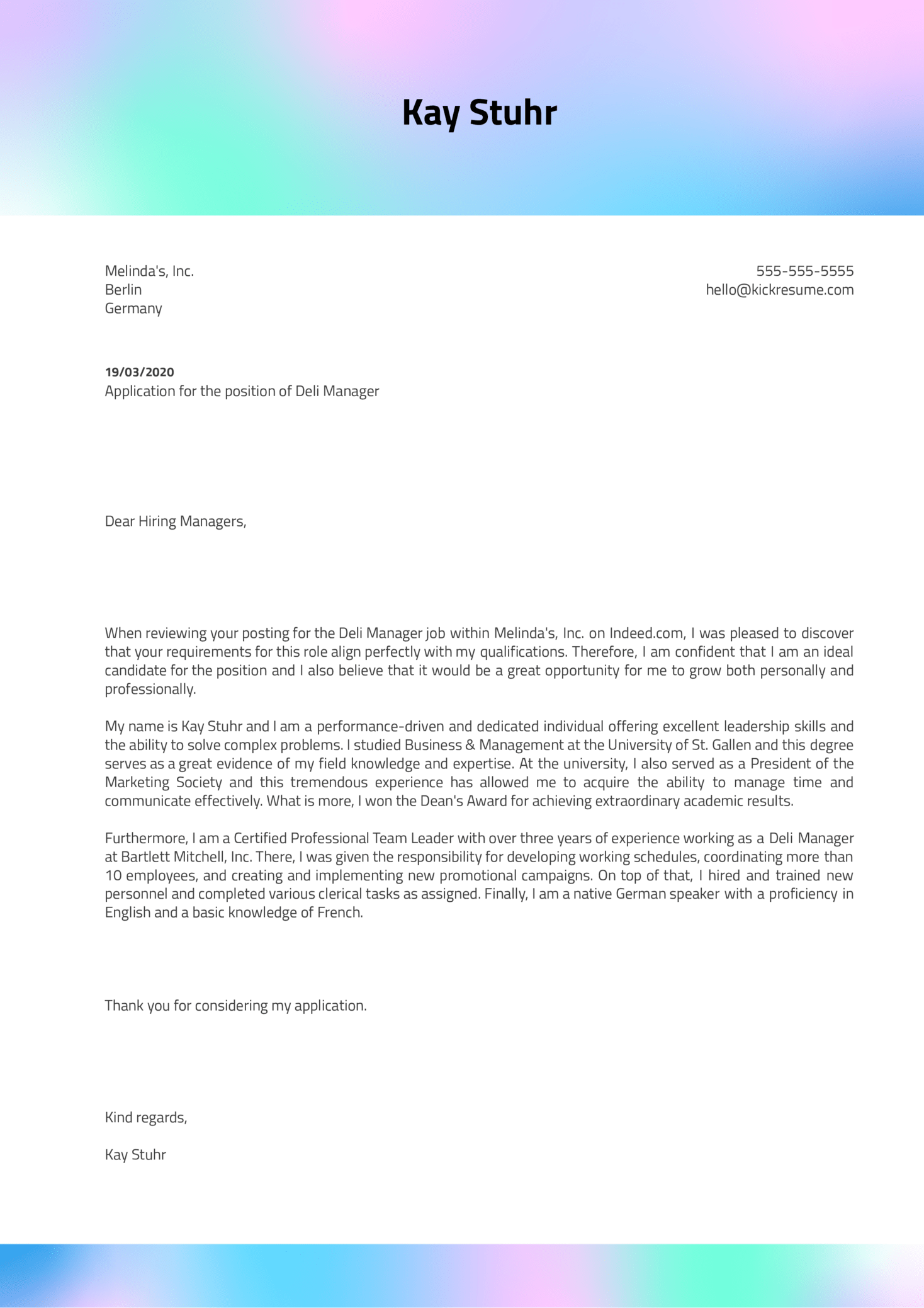 Deli Manager Cover Letter Template